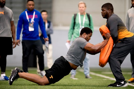 Kyle Phillips drills at Tennessee Pro Day at Anderson Training Facility in Knoxville on March 14.