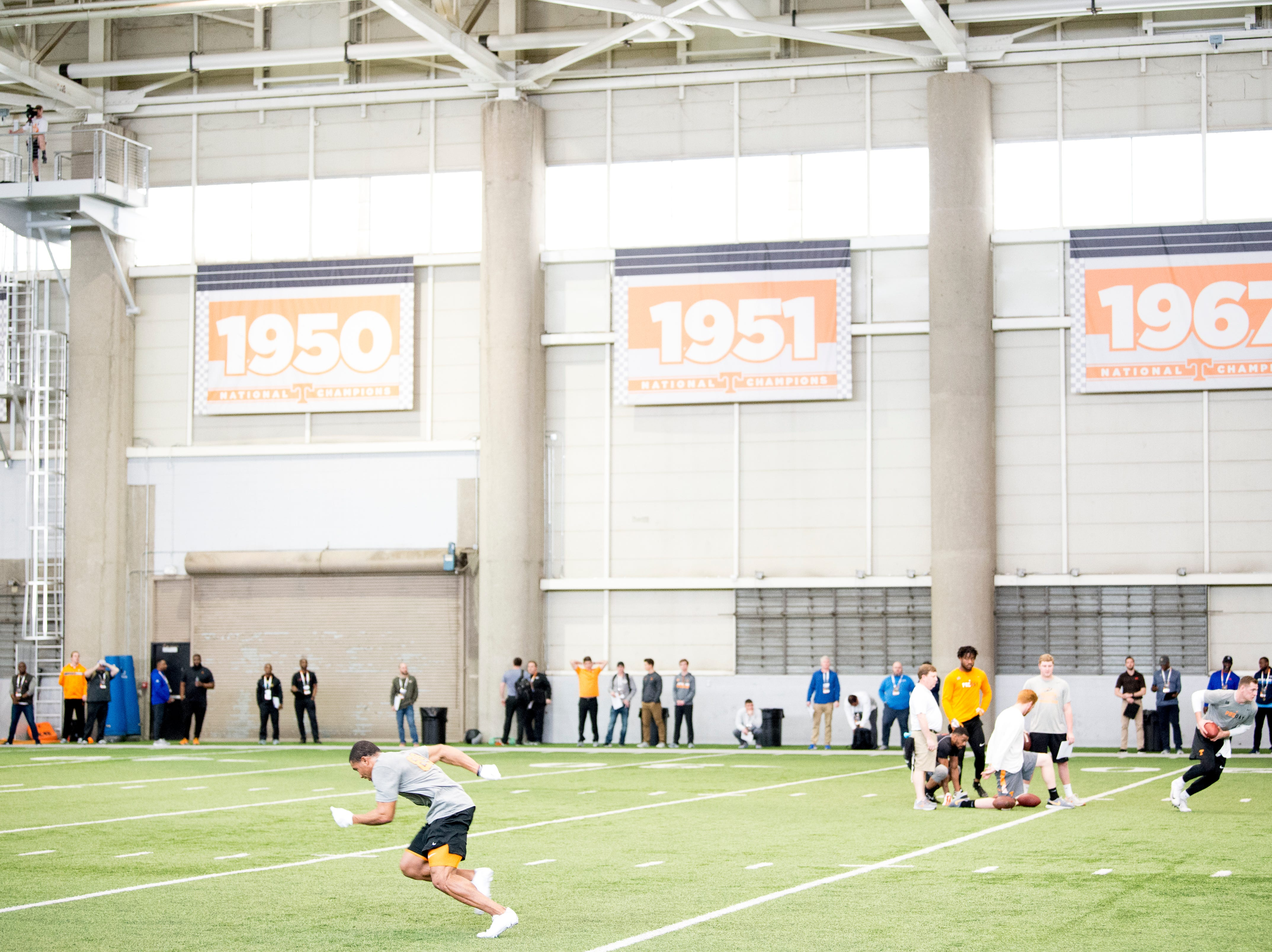 A view of Tennessee Pro Day at Anderson Training Facility in Knoxville, Tennessee on Thursday, March 14, 2019. Draft prospects from Tennessee and other schools worked out before NFL scouts.