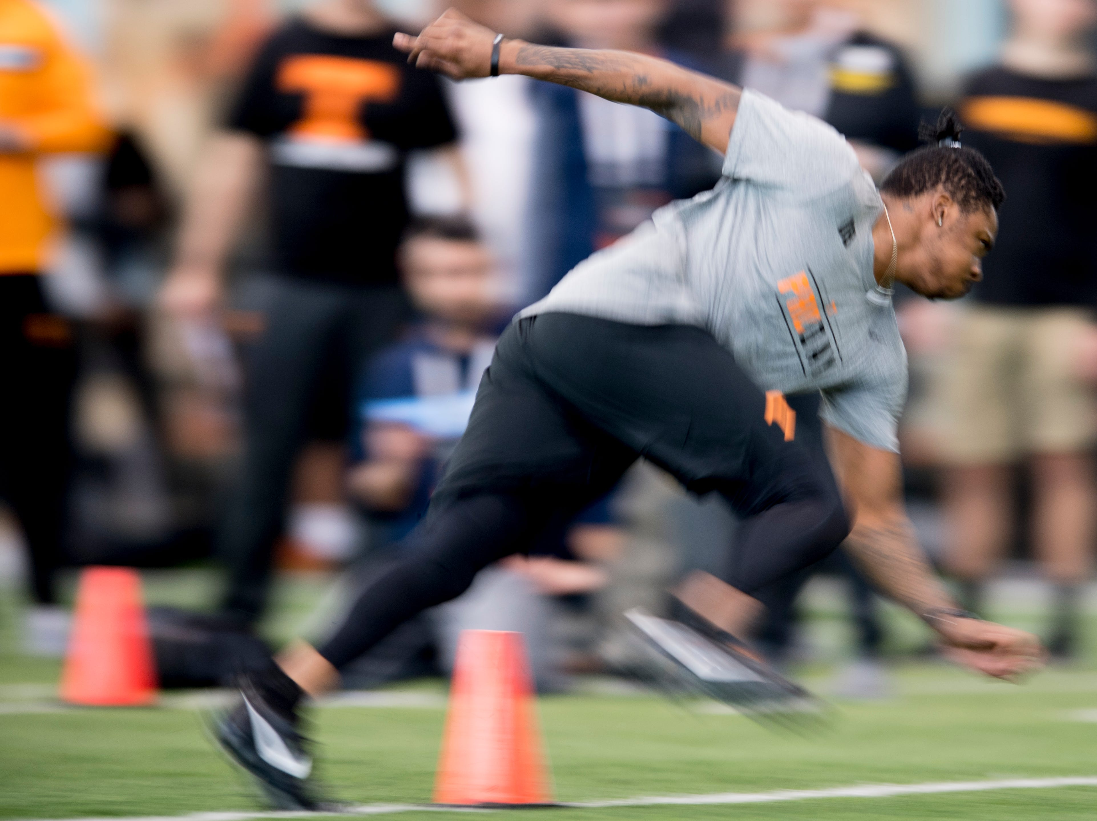 D.J. Henderson does the three-cone-drill at Tennessee Pro Day at Anderson Training Facility in Knoxville, Tennessee on Thursday, March 14, 2019. Draft prospects from Tennessee and other schools worked out before NFL scouts.