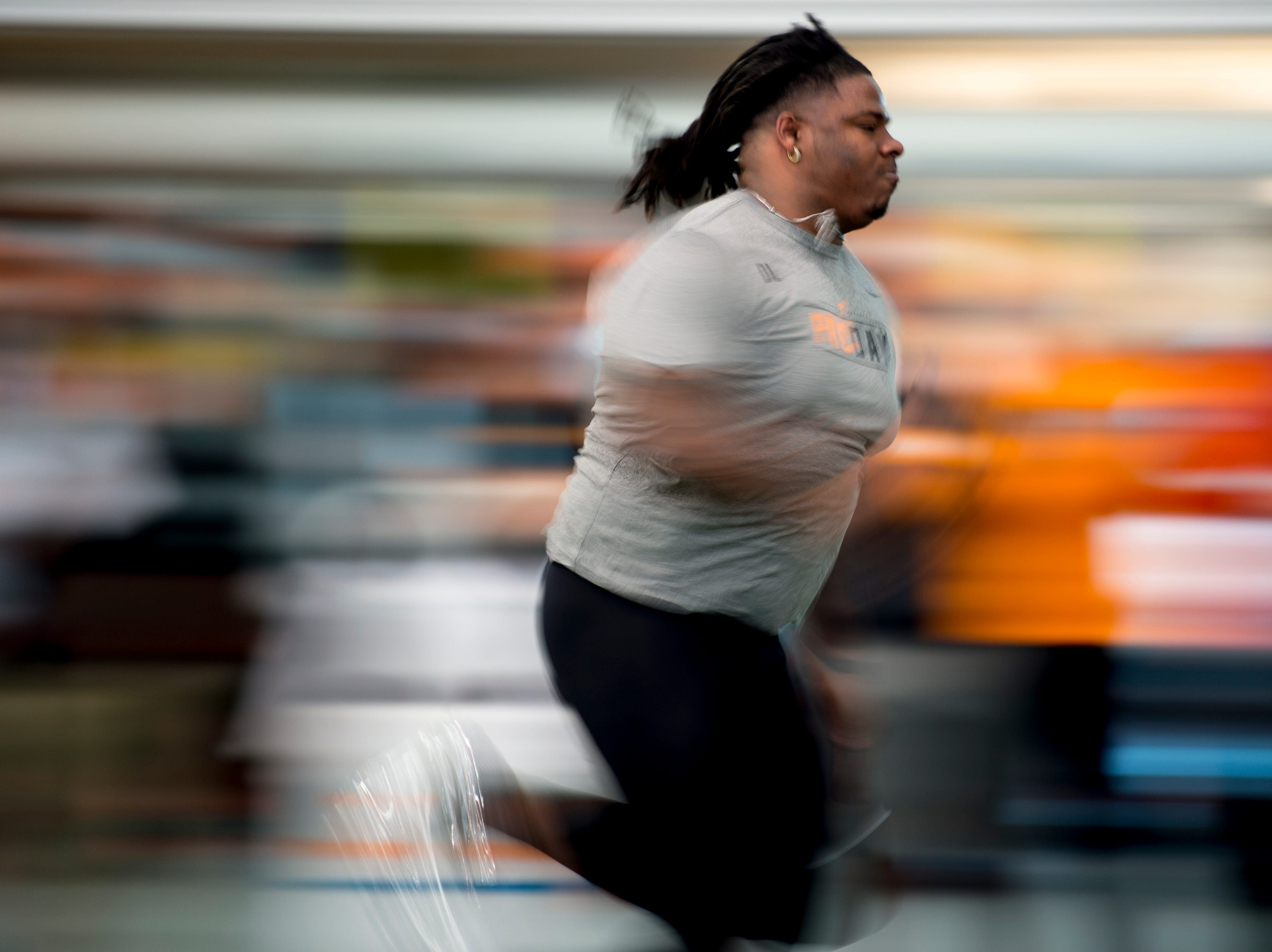 Alexis Johnson does the 40 yard dash at Tennessee Pro Day at Anderson Training Facility in Knoxville, Tennessee on Thursday, March 14, 2019. Draft prospects from Tennessee and other schools worked out before NFL scouts.