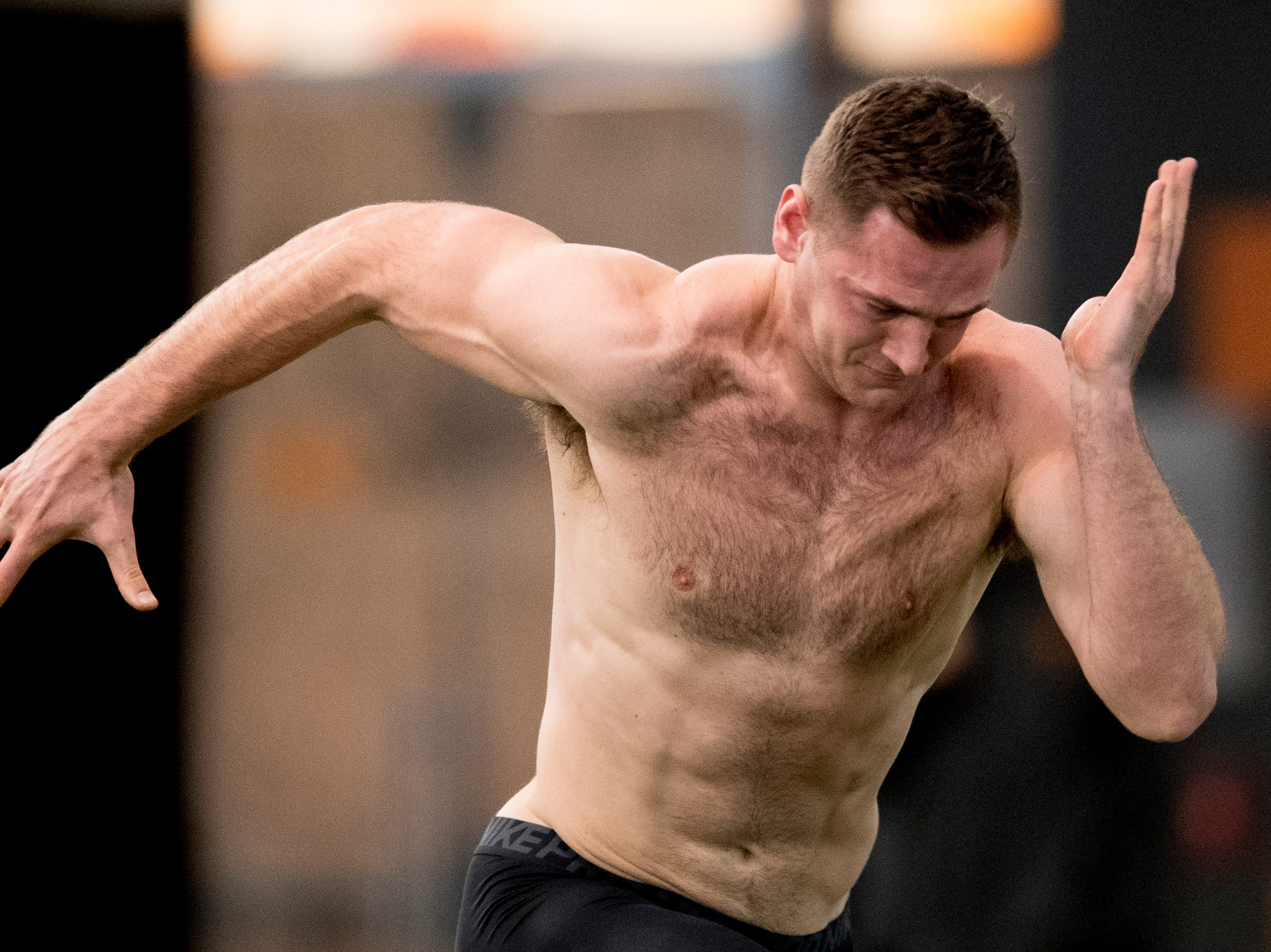 Keller Chryst does the 40 yard dash at Tennessee Pro Day at Anderson Training Facility in Knoxville, Tennessee on Thursday, March 14, 2019. Draft prospects from Tennessee and other schools worked out before NFL scouts.