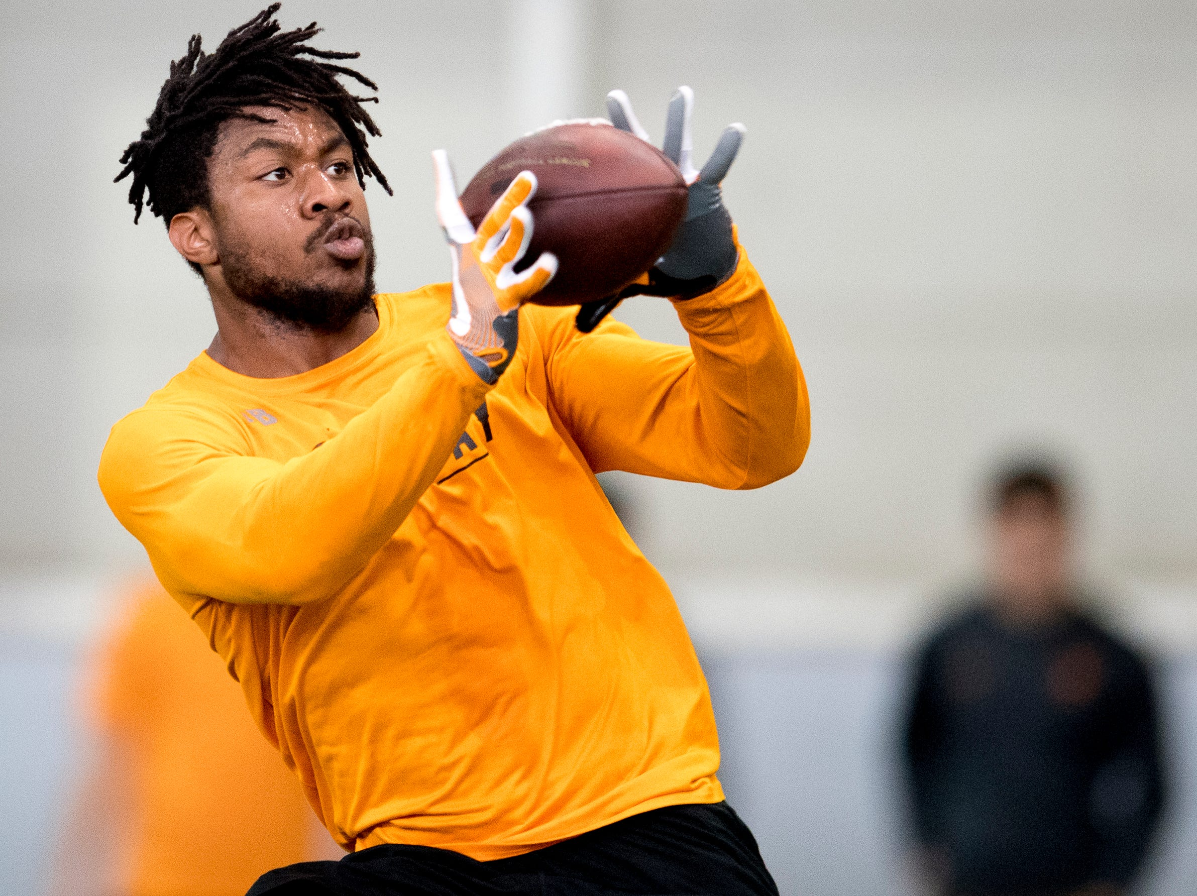 Madre London makes a catch at Tennessee Pro Day at Anderson Training Facility in Knoxville, Tennessee on Thursday, March 14, 2019. Draft prospects from Tennessee and other schools worked out before NFL scouts.