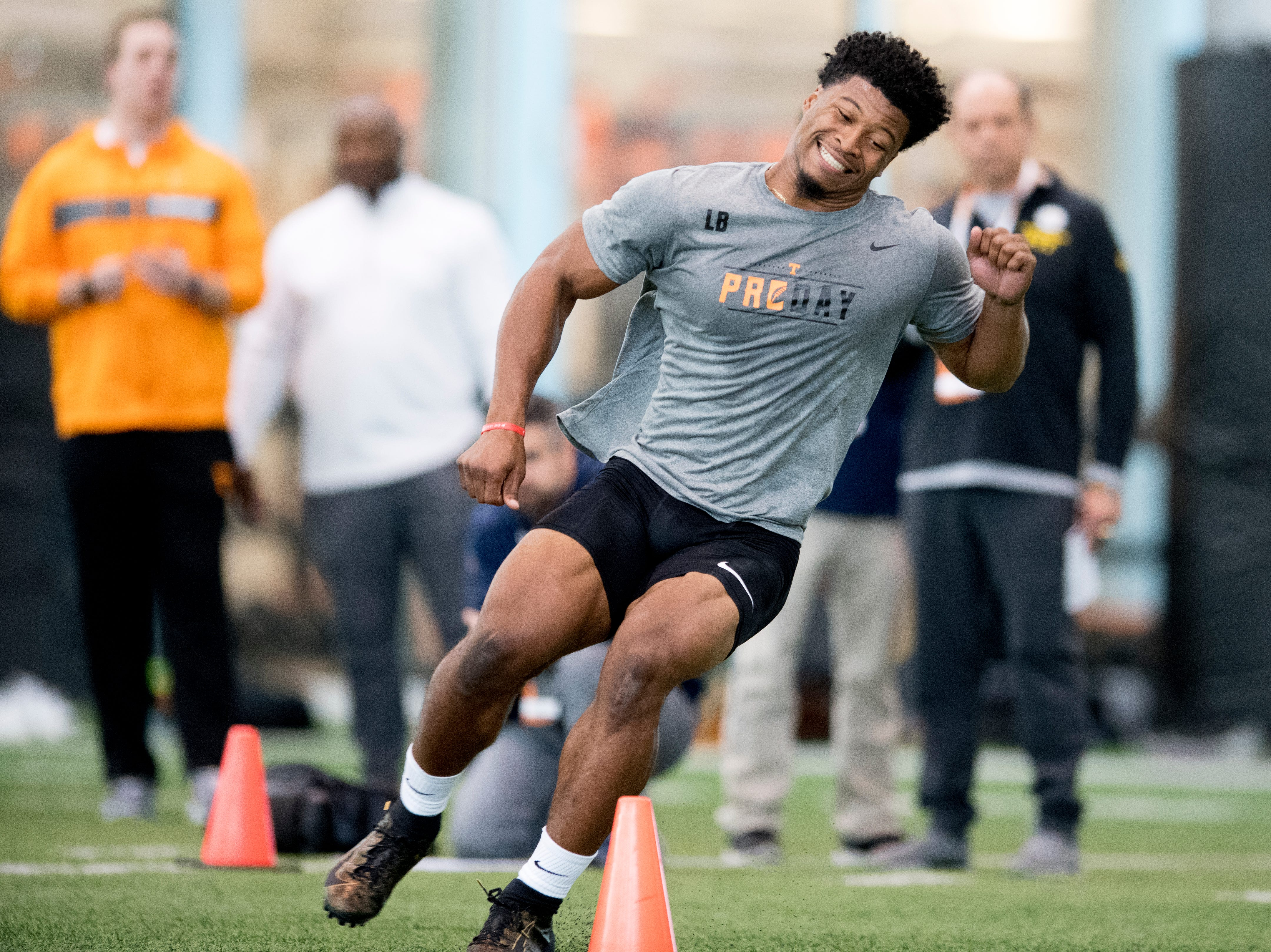 Quart'e Sapp does the three-cone-drill at Tennessee Pro Day at Anderson Training Facility in Knoxville, Tennessee on Thursday, March 14, 2019. Draft prospects from Tennessee and other schools worked out before NFL scouts.
