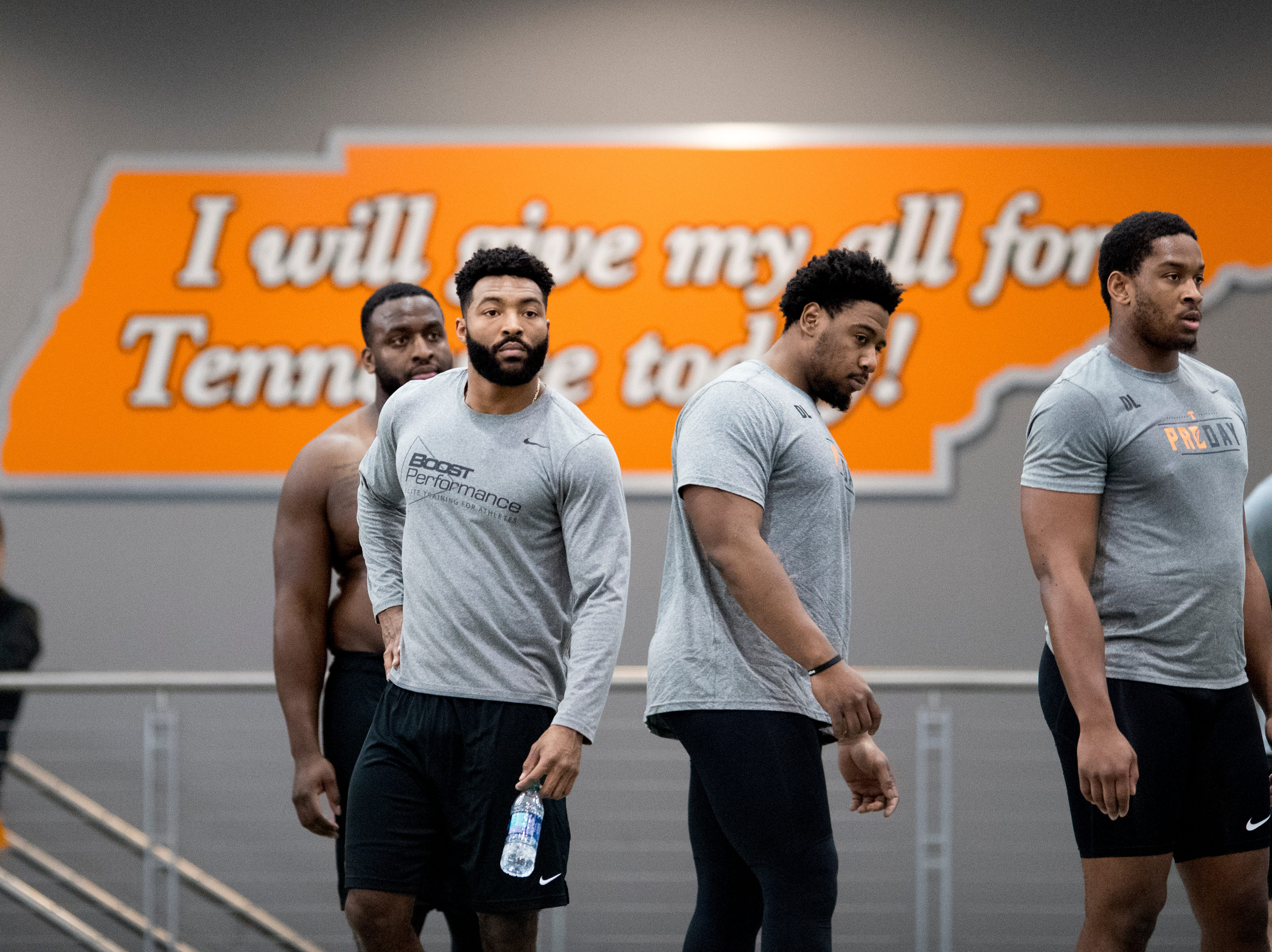 Tennessee prospects at Tennessee Pro Day at Anderson Training Facility in Knoxville, Tennessee on Thursday, March 14, 2019. Draft prospects from Tennessee and other schools worked out before NFL scouts.