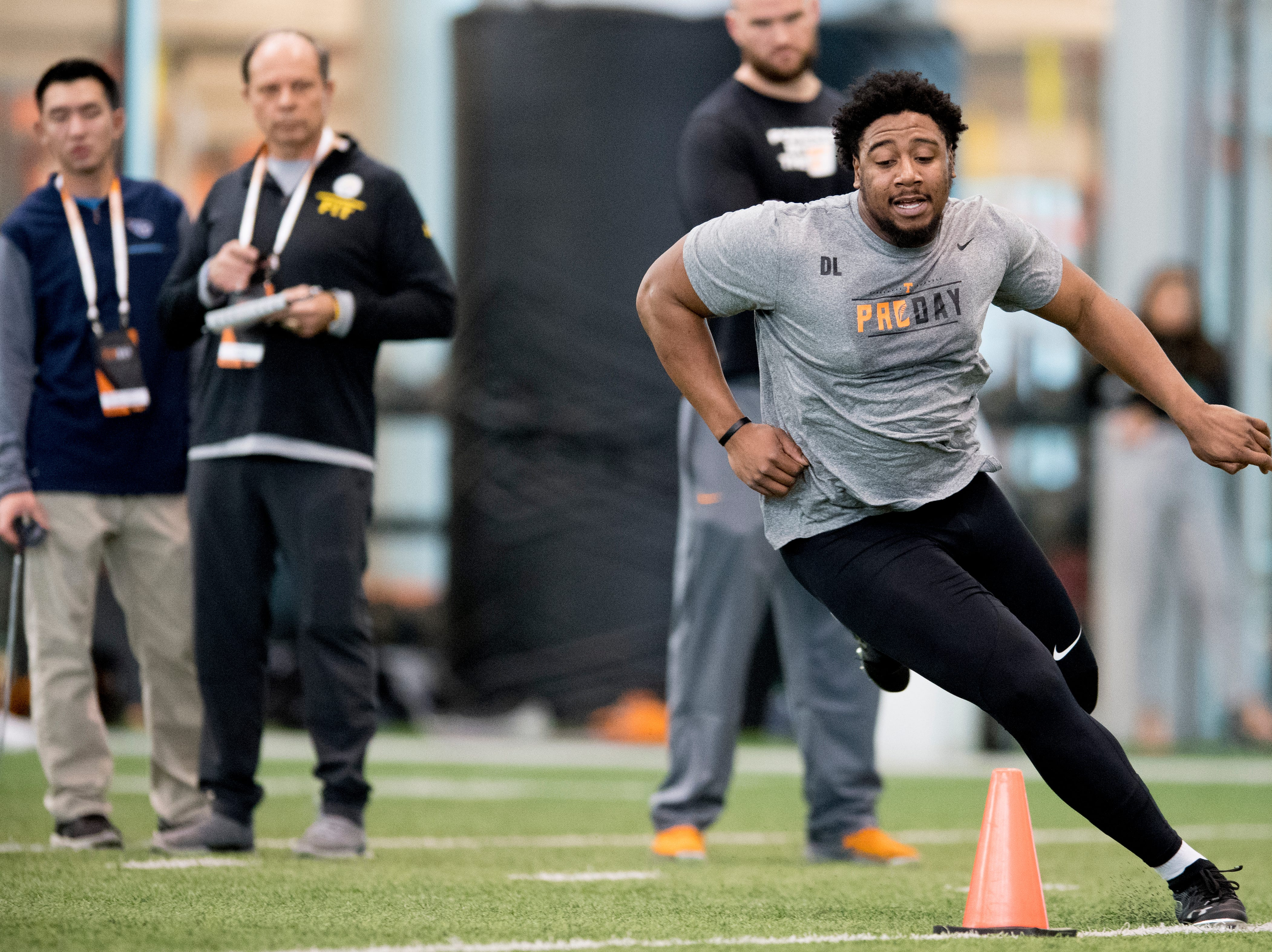 Shy Tuttle does the three-cone-drill at Tennessee Pro Day at Anderson Training Facility in Knoxville, Tennessee on Thursday, March 14, 2019. Draft prospects from Tennessee and other schools worked out before NFL scouts.