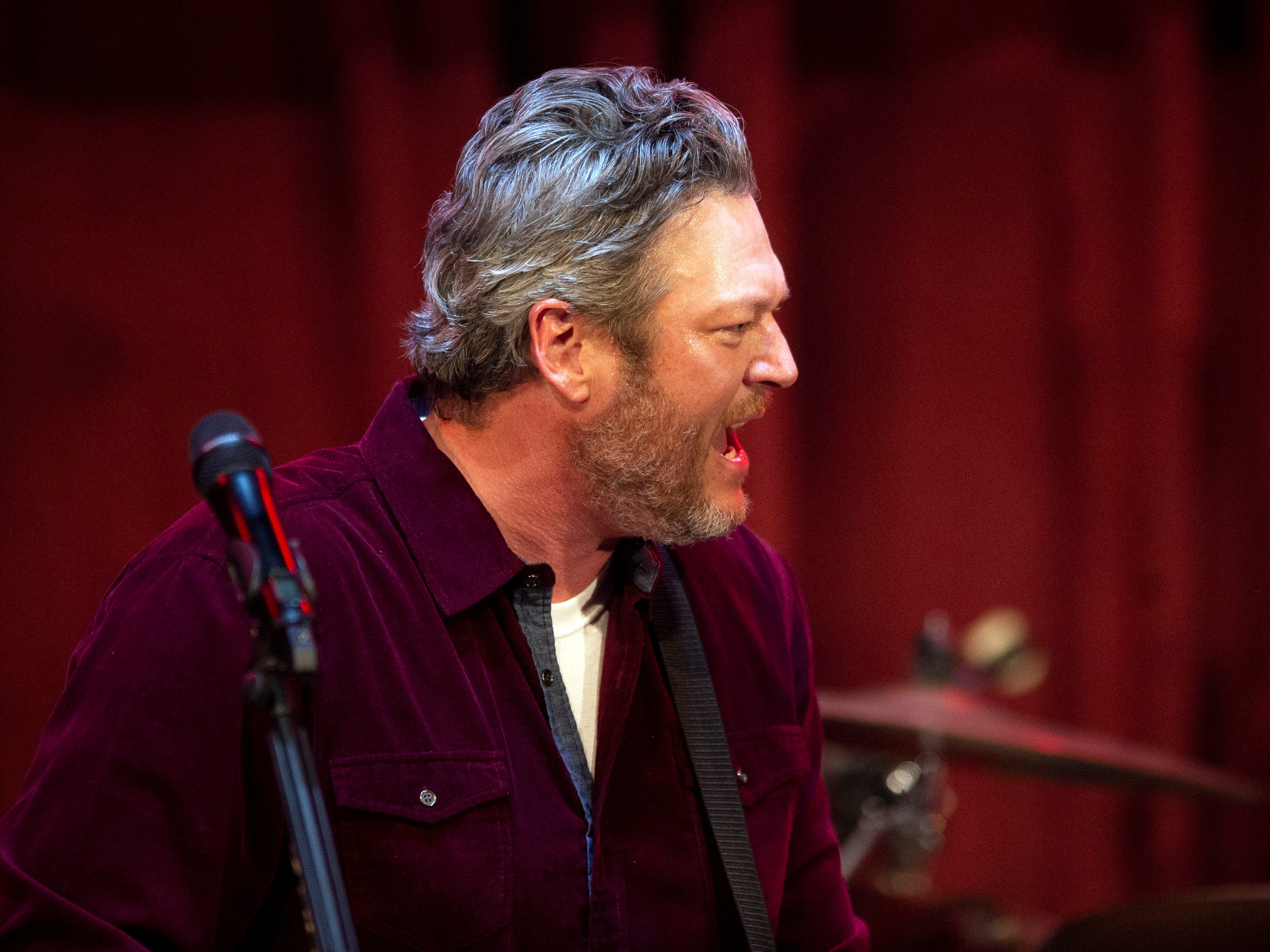Blake Shelton performs at the grand opening of Ole Red Gatlinburg on Wednesday, March 13, 2019.