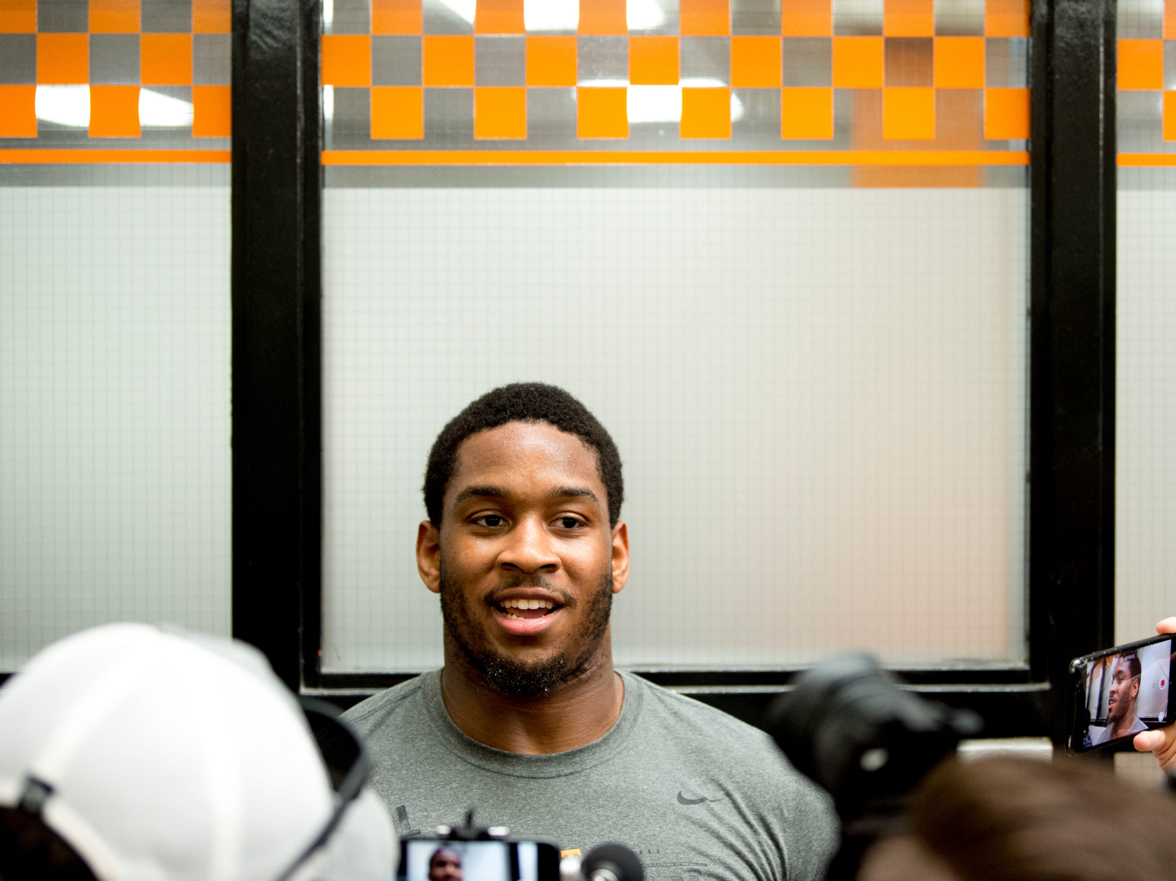 Kyle Phillips speaks with the media at Tennessee Pro Day at Anderson Training Facility in Knoxville, Tennessee on Thursday, March 14, 2019. Draft prospects from Tennessee and other schools worked out before NFL scouts.