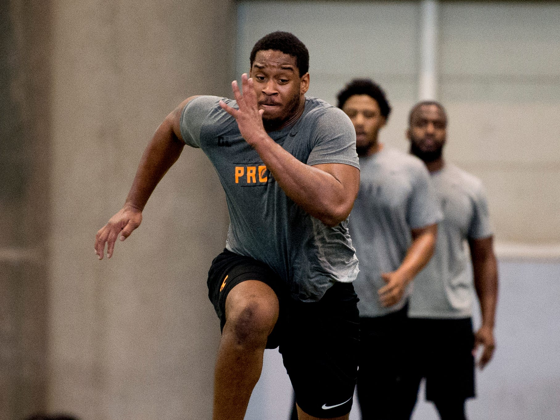Kyle Phillips does a drill at Tennessee Pro Day at Anderson Training Facility in Knoxville, Tennessee on Thursday, March 14, 2019. Draft prospects from Tennessee and other schools worked out before NFL scouts.
