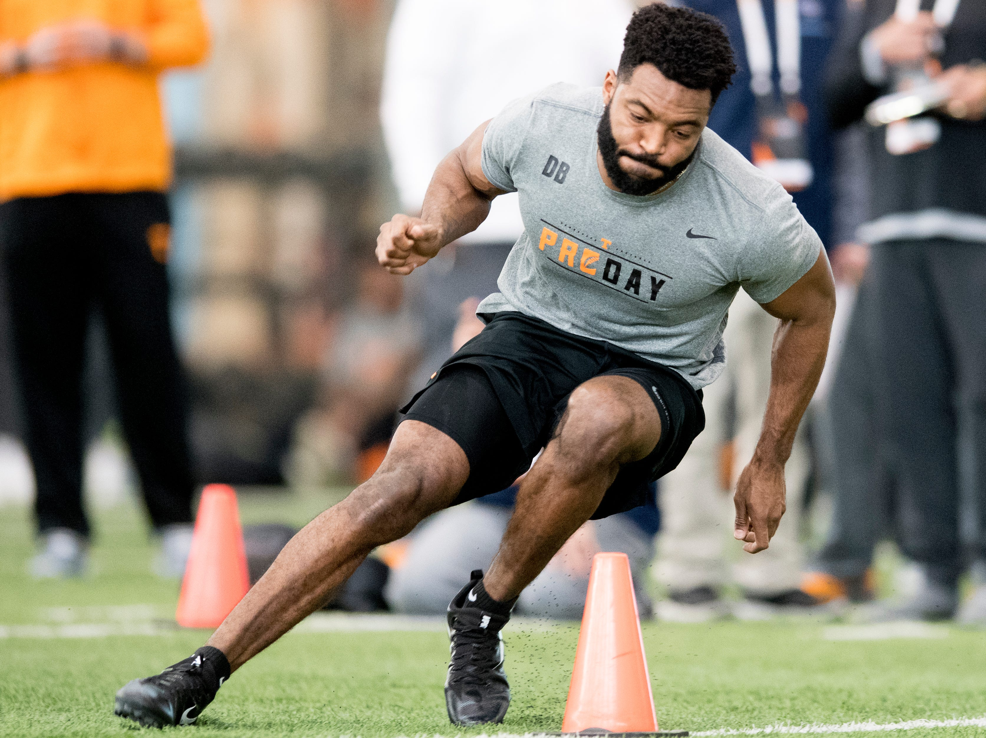 Micah Abernathy does the three-cone-drill at Tennessee Pro Day at Anderson Training Facility in Knoxville, Tennessee on Thursday, March 14, 2019. Draft prospects from Tennessee and other schools worked out before NFL scouts.
