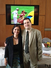 """""""Miro"""" and Nathalie Hristov – he's from Bulgaria, she's from Puerto Rico – are American citizens and Knoxvillians for decades. Their children – and many area kids – love the Ready for the World Music Series. Photo taken Oct. 12, 2014."""