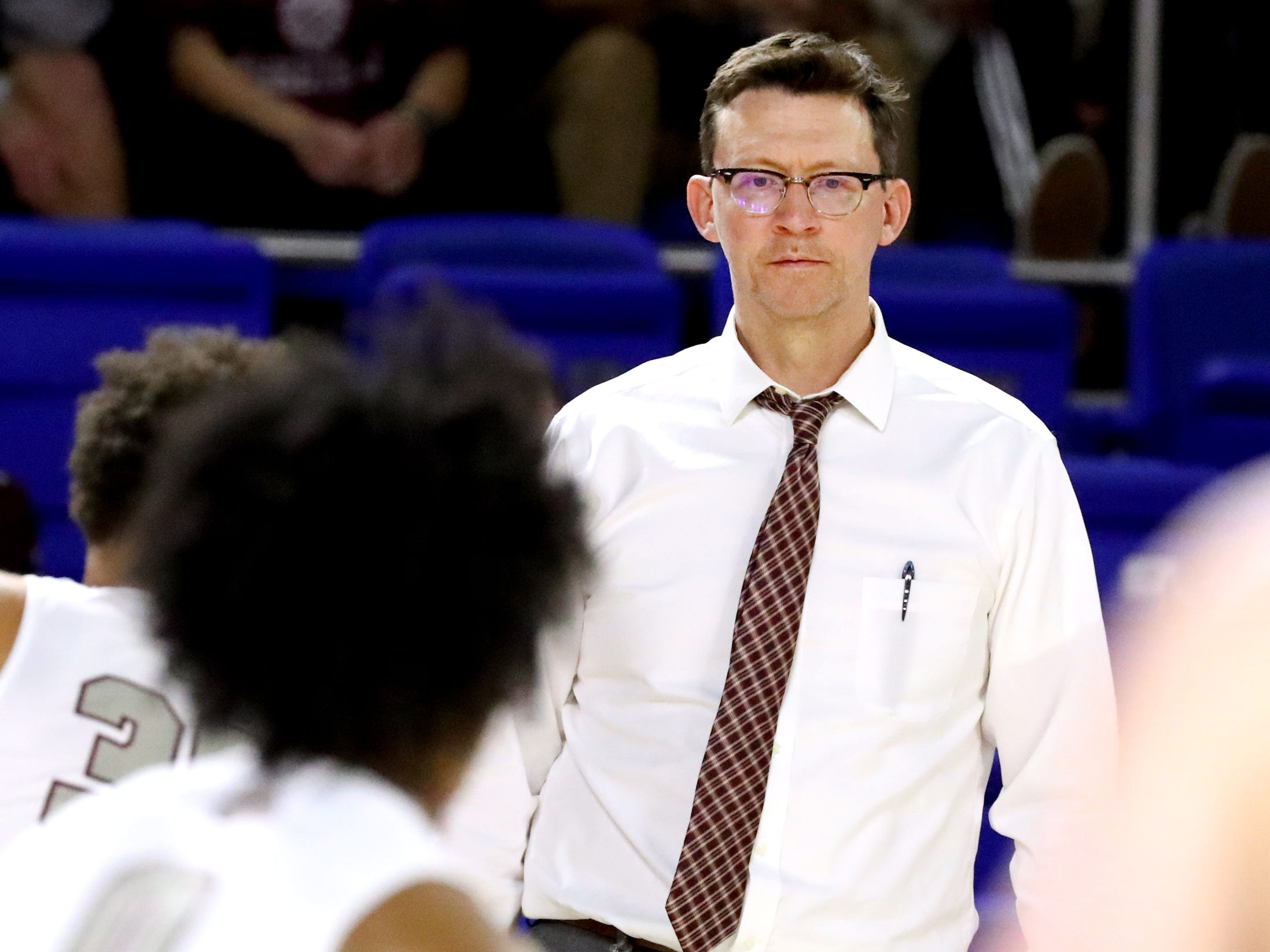Franklin's head coach Darrin Joines on the sidelines during the quarterfinal round of the TSSAA Class AAA Boys State Tournament Bearden, on Wednesday, March 13, 2019, at Murphy Center in Murfreesboro, Tenn.