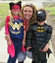 Maila, 5, and Alex 4, joined mom Jessica Kincer at Cool Sports on March 10 to see their favorite superheroes.