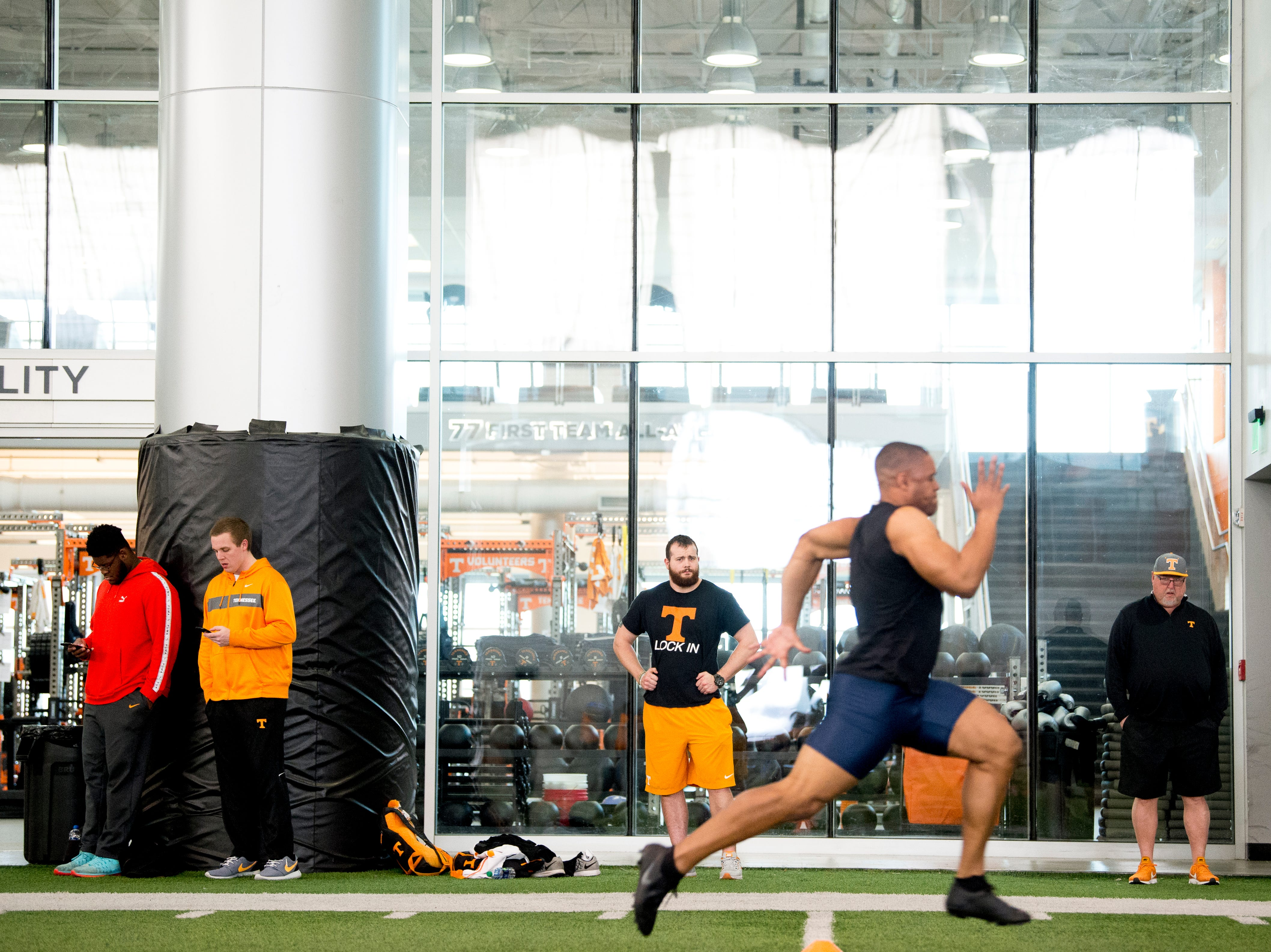 A prospect does the 40 yard dash at Tennessee Pro Day at Anderson Training Facility in Knoxville, Tennessee on Thursday, March 14, 2019. Draft prospects from Tennessee and other schools worked out before NFL scouts.