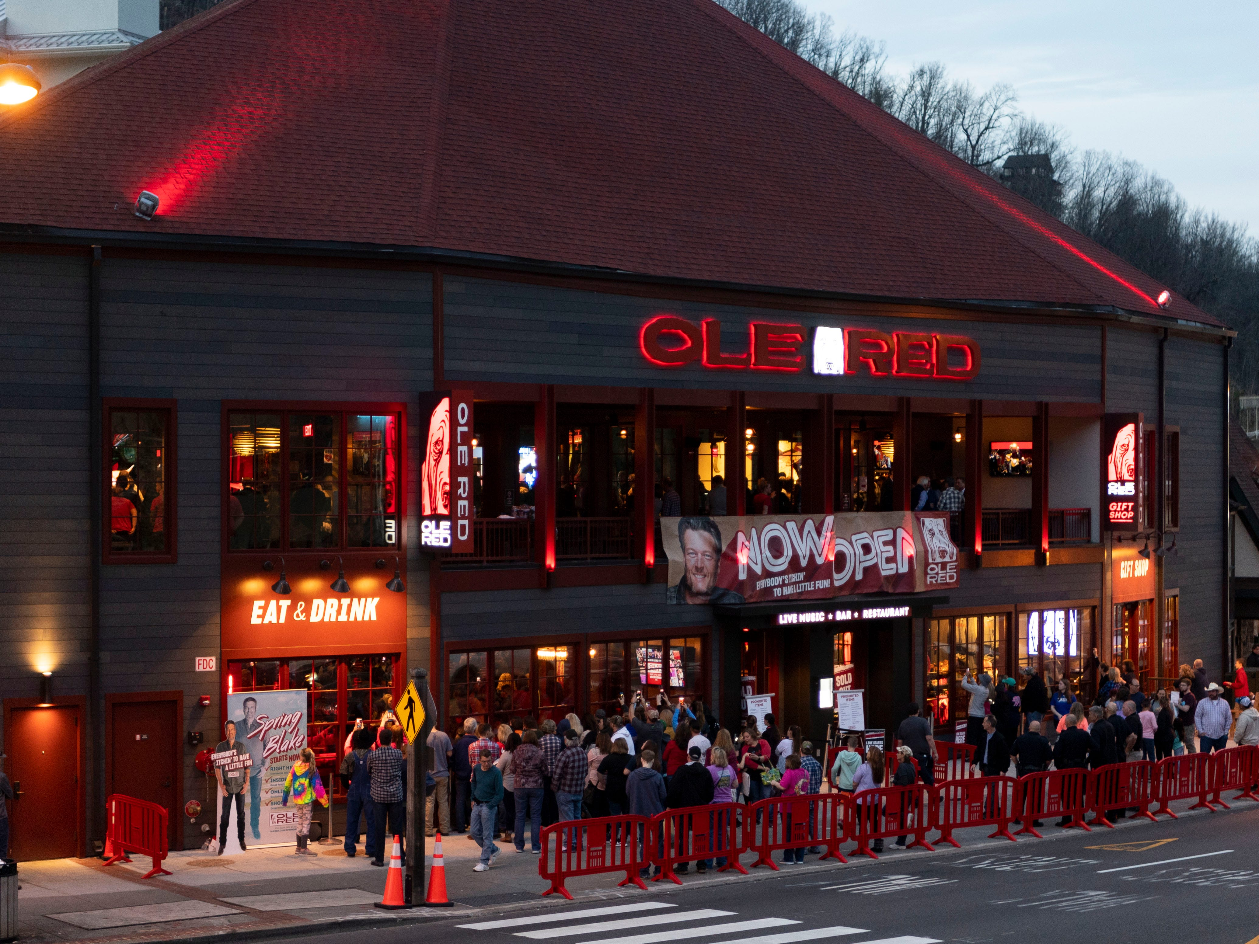 A crowd gathers outside Ole Red Gatlinburg to watch Blake Shelton performing inside the restaurant and music venue on Wednesday, March 13, 2019.