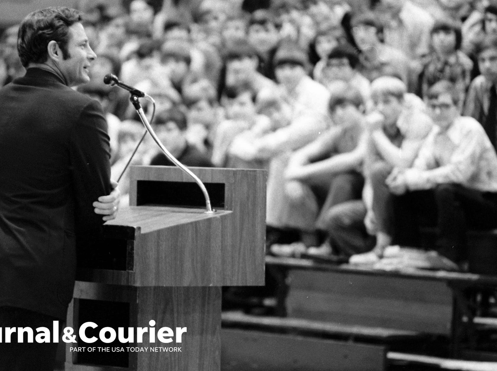 Birch Bayh speaks at Central Catholic in Lafayette on November 30, 1972.