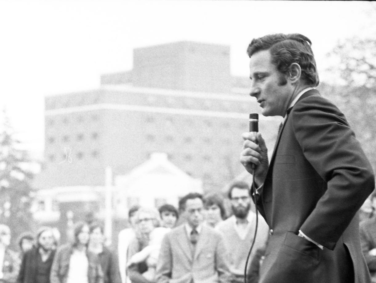 A sleepy Sen. Birch Bahy charmed 350 Purdue students at a rally on the campus, designed to lure last minute votes for Democrats George McGovern adn Matt Welsh. Photo taken November 6, 1972.