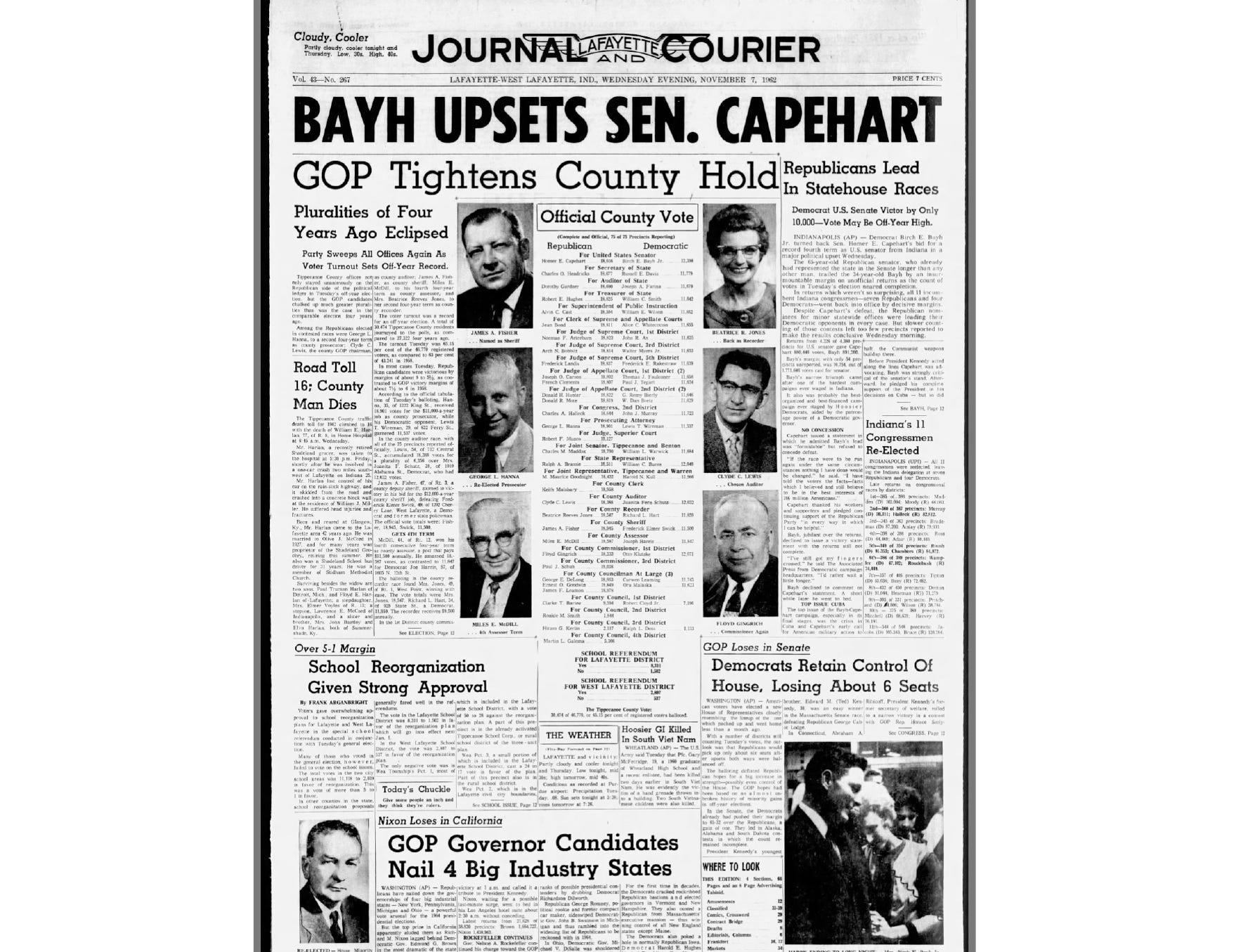 Democratice Senate candidate Birch Bayh upsets Republican incumbent Capehart.