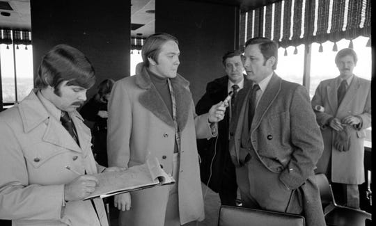 Sen. Birch Bayh, second from right, was interviewed by John Norberg of the Journal & Courier and Bill Oakes of WASK radio on Jan. 12, 1974, during a tour of the city to discuss the Lafayette Railroad Relocation Project with Mayor Jim Riehle and Lafayette Redevelopment Director Kent Schuette. Later that year, Bayh helped get initial funding for a project, starting what turned into a $186 million project that eliminated 42 at-grade rail crossings.