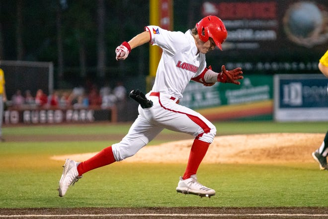 "UL's Hayden Cantrelle sprints to first base as the Ragin' Cajuns take on the Southern Miss Golden Eagles at M.L. ""Tigue"" Moore Field on Wednesday, March 13, 2019."