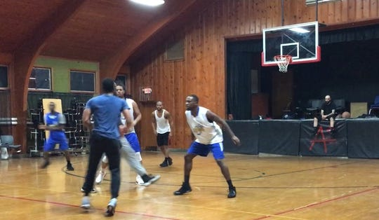 Members of the Lancaster Thunder semi professional men's basketball team practice in Columbus recently. The team's first home game is 6 p.m. Saturday, at Thomas Ewing Junior High in Lancaster.