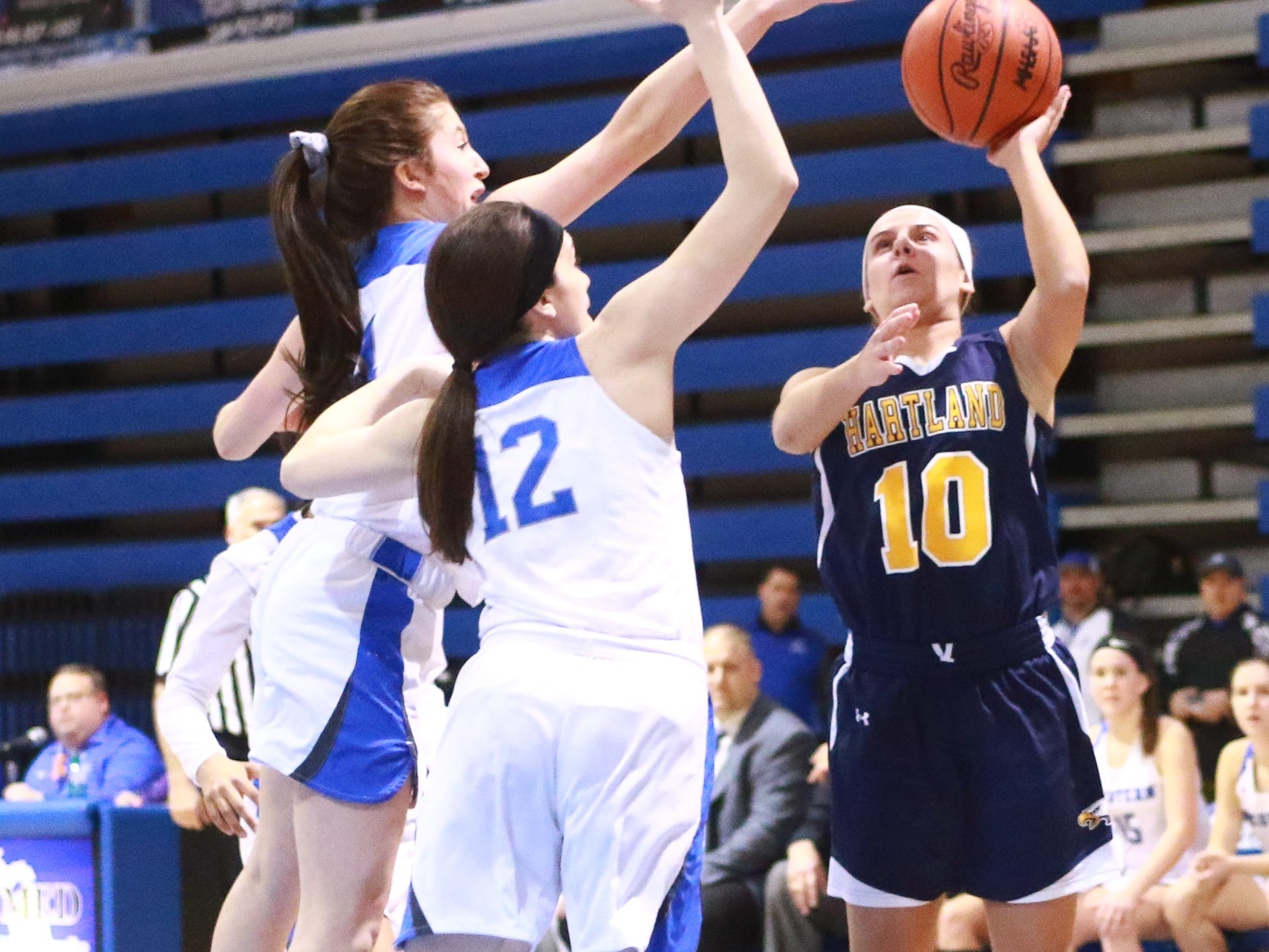Hartland's Nikki Dompierre (10) scored a career-high 26 points in a 50-46 victory over Walled Lake Western in a regional championship basketball game at Lakeland on Wednesday, March 13, 2019.