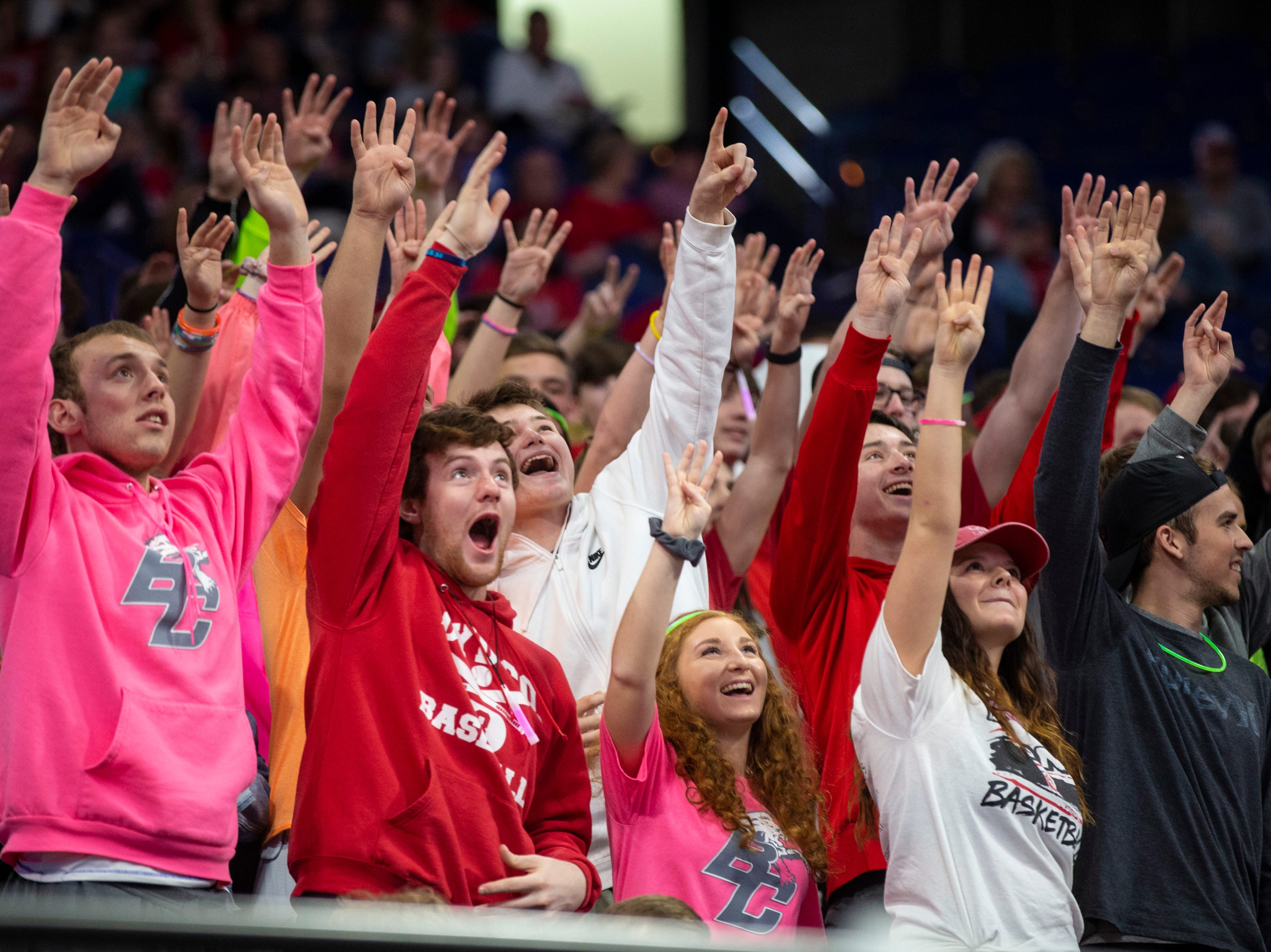 Boyd County fans cheer as Boyd County took on Louisville Male in the KHSAA state basketball tournament in Rupp Arena. Male eliminated Boyd County 74-56. March 14, 2019