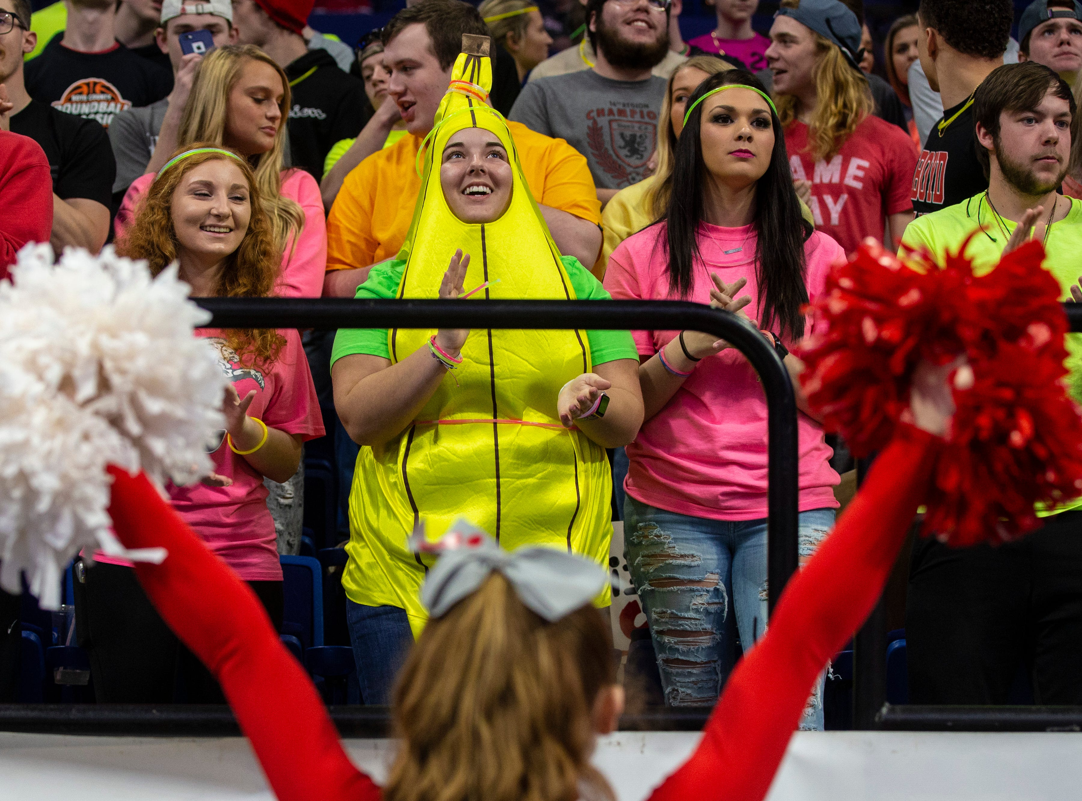 Boyd County fans celebrate as Boyd County took on Louisville Male in the KHSAA state basketball tournament in Rupp Arena. Male eliminated Boyd County 74-56. March 14, 2019