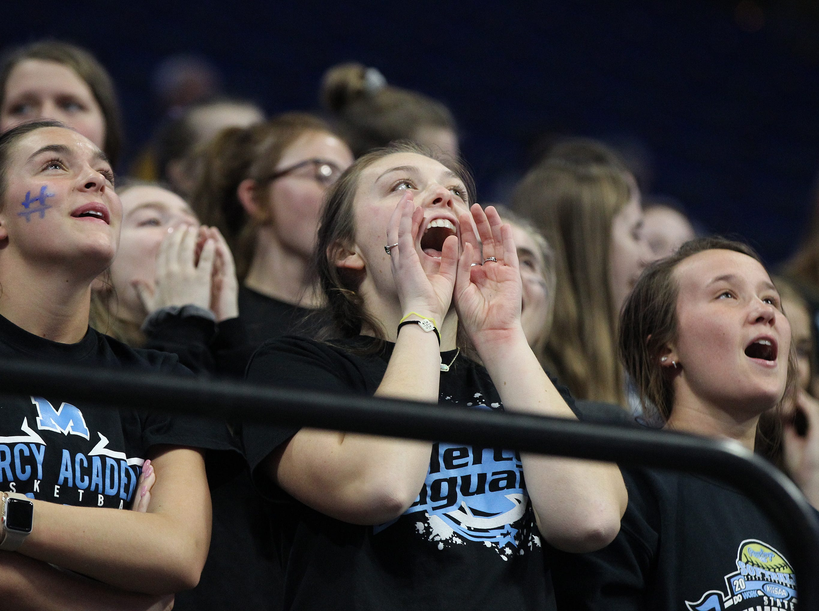 Mercy fans yell during their opening round game against George Rogers Clark at the KHSAA Girl's Sweet 16, Wednesday, March 13. George Rogers Clark won 65-64.