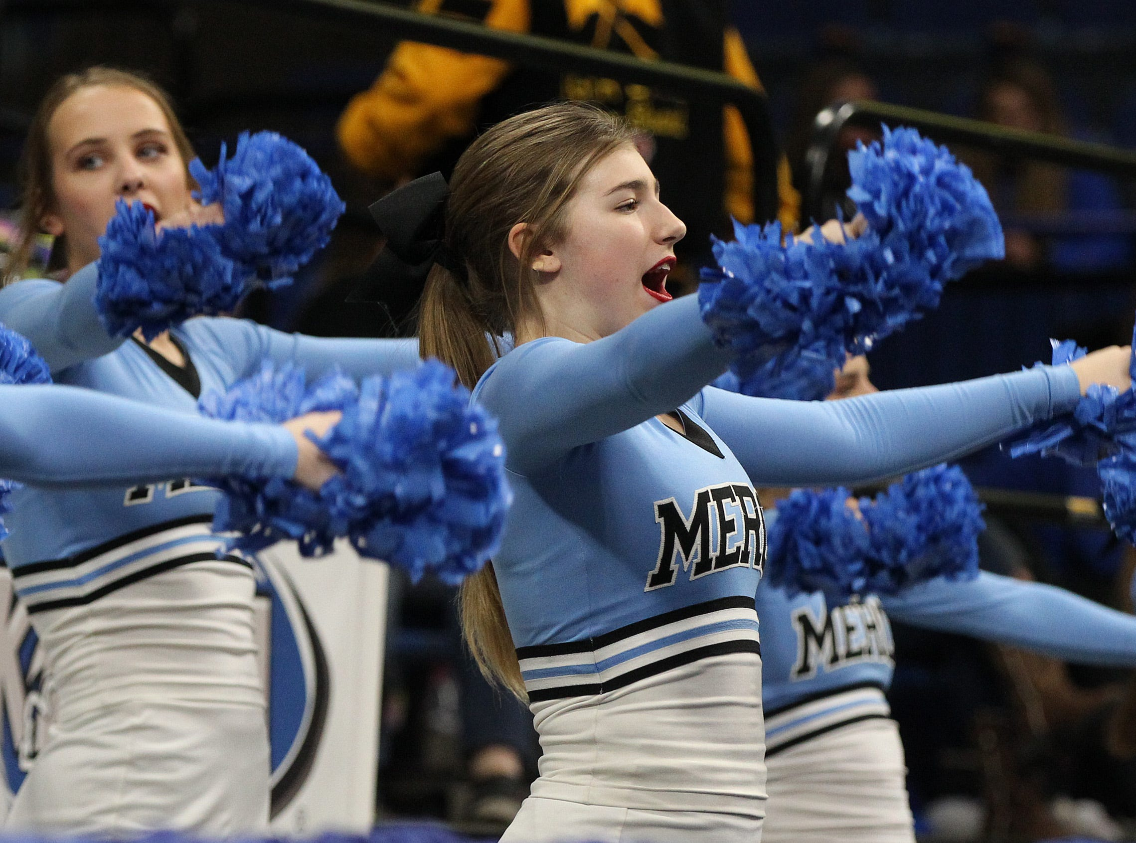 Mercy cheerleaders motivate their crowd in their opening round game against George Rogers Clark at the KHSAA Girl's Sweet 16, Wednesday, March 13. George Rogers Clark won 65-64.