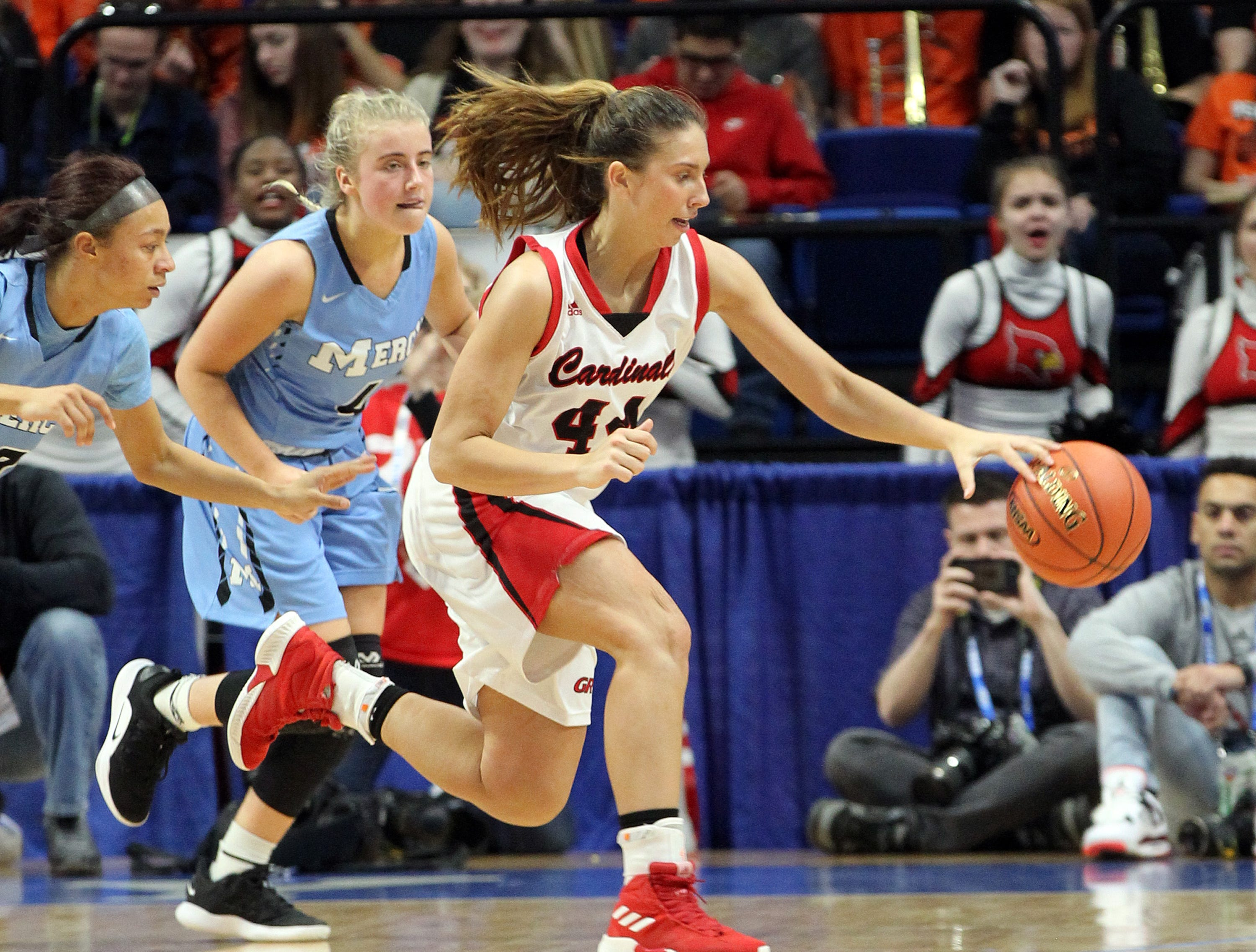 George Rogers Clark's Hayley Harrison (44) chases down the ball near Mercy's Hope Sivori in their opening round game at the KHSAA Girl's Sweet 16, Wednesday, March 13. George Rogers Clark won 65-64.