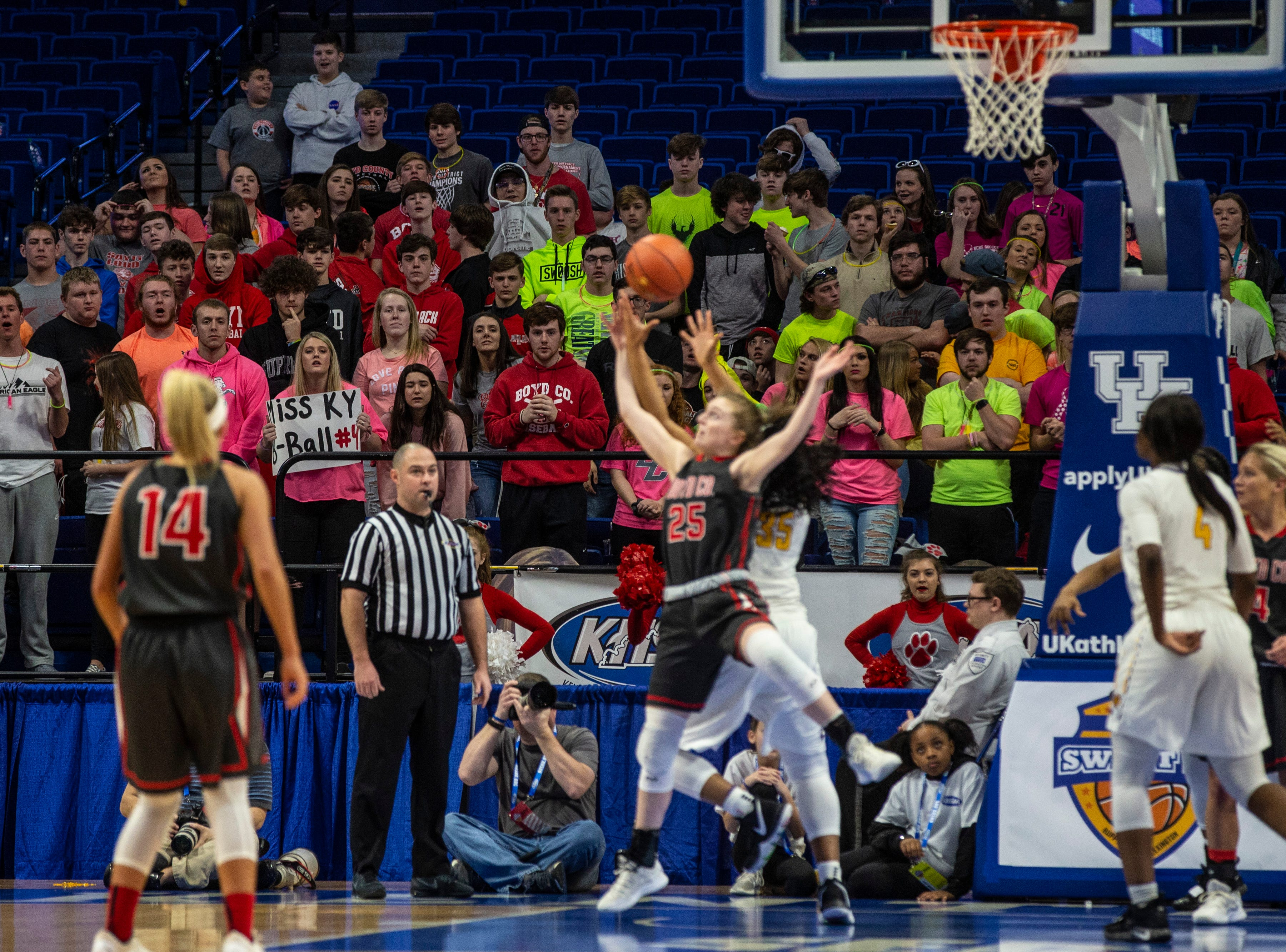 Boyd County fans look on as Boyd County took on Louisville Male in the KHSAA state basketball tournament in Rupp Arena. Male eliminated Boyd County 74-56. March 14, 2019