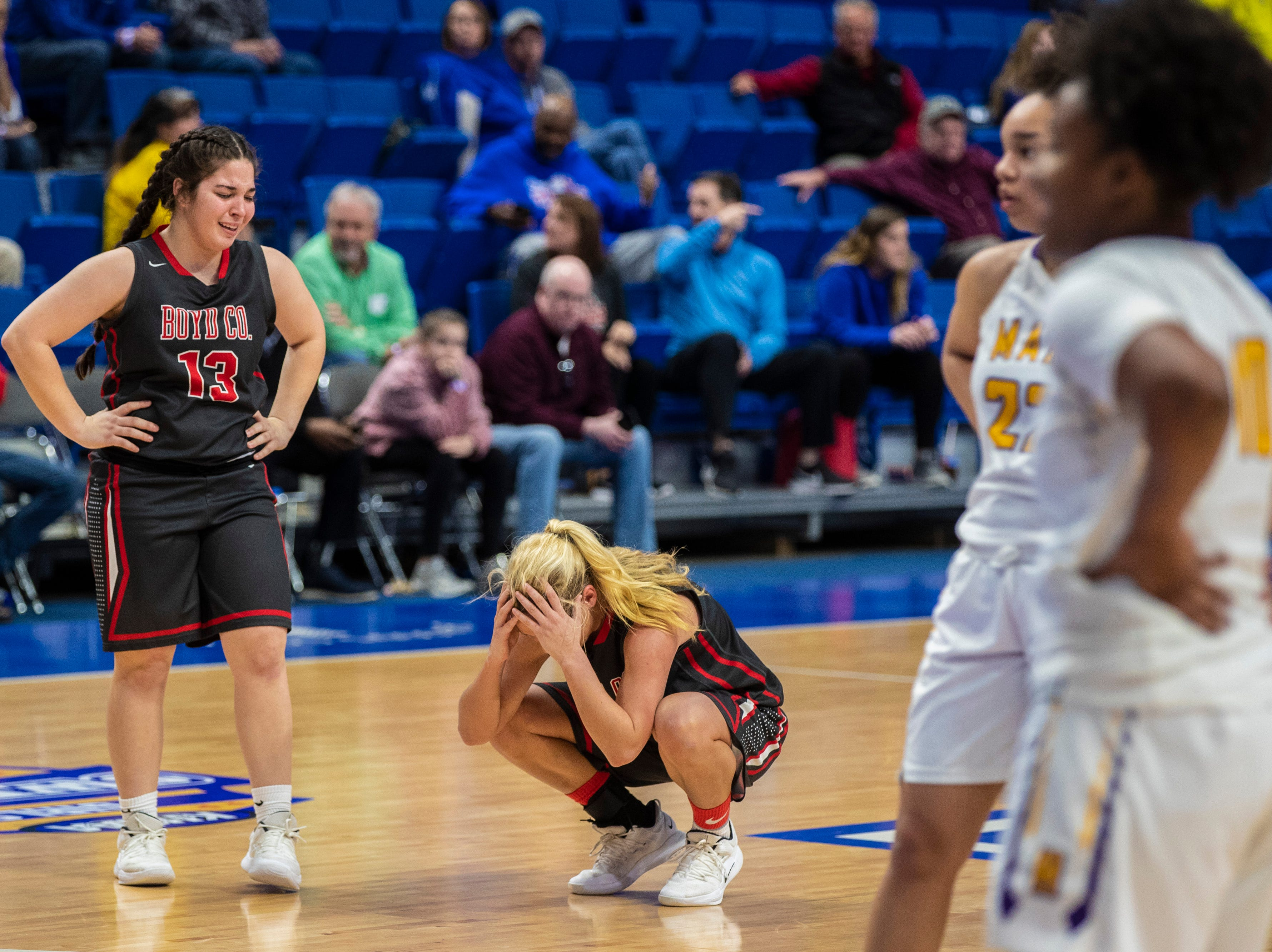 Boyd County took on Louisville Male in the KHSAA state basketball tournament in Rupp Arena. Male eliminated Boyd County 74-56. March 14, 2019