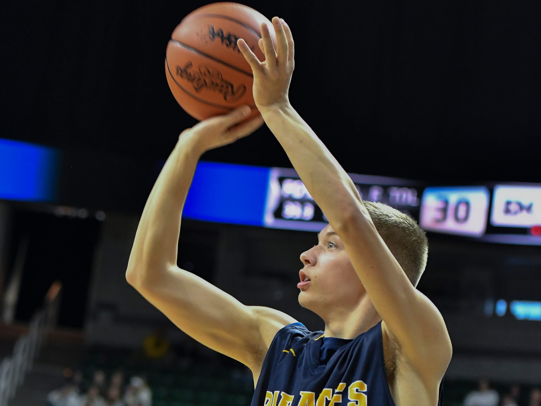 Kyle Stump of P-W connects from three point land against Erie-Mason, Thursday, March 14, 2019, during the MHSAA Div. 3 state semifinal at the Breslin Center in East Lansing.   P-W earned a berth in the state final winning 60-45.