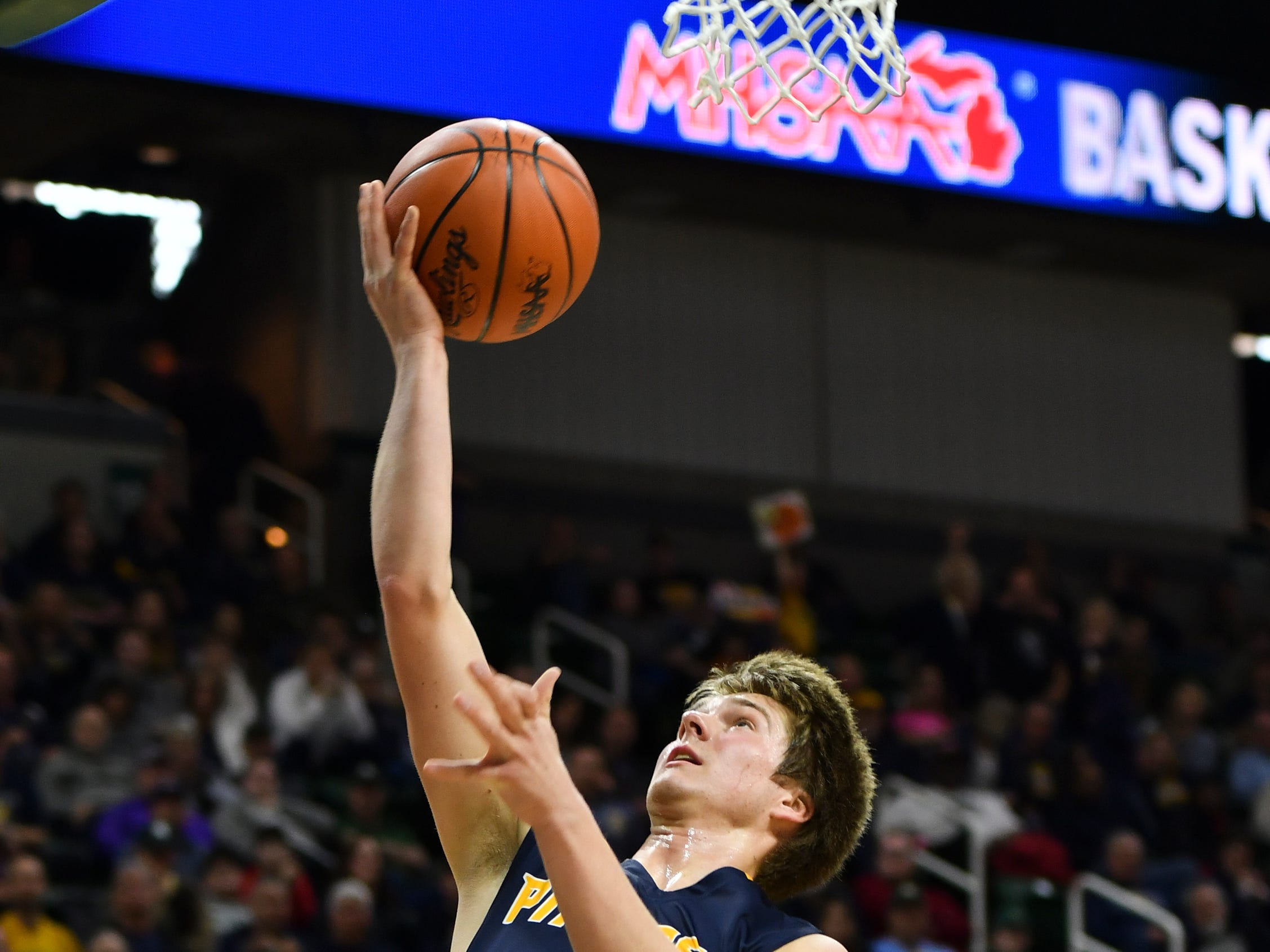 Nathan Worth drops in two Thursday, March 14, 2019, against Erie-Mason during the MHSAA Div. 3 state semifinal at the Breslin Center in East Lansing.   P-W earned its berth in the state final beating Erie-Mason 60-45.
