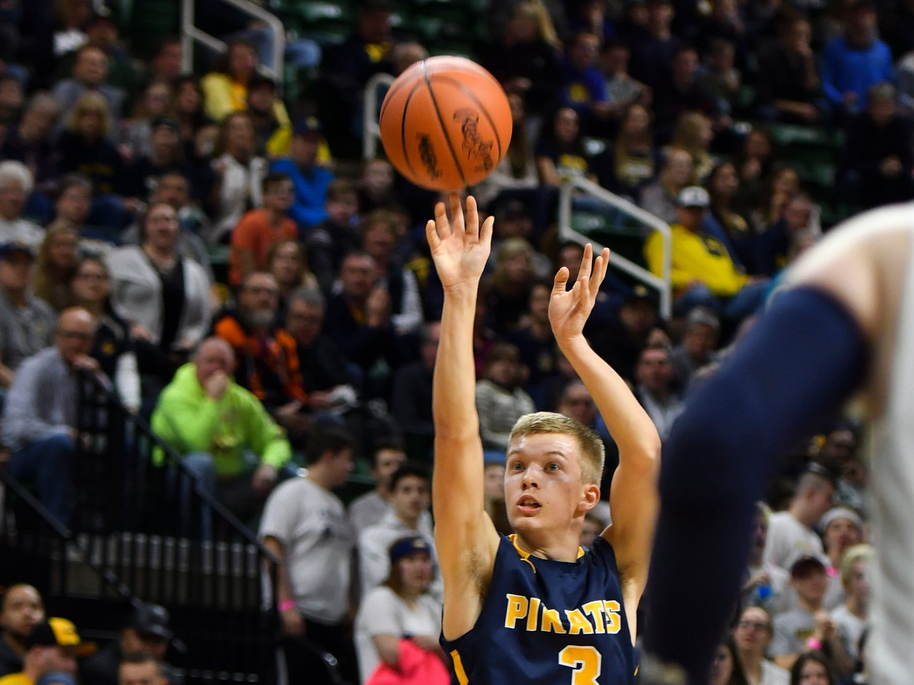Kyle Stump of Pewamo-Westphalia connects from three point land against Erie-Mason, Thursday, March 14, 2019, during the MHSAA Div. 3 state semifinal at the Breslin Center in East Lansing.   P-W earned a berth in the state final winning 60-45.