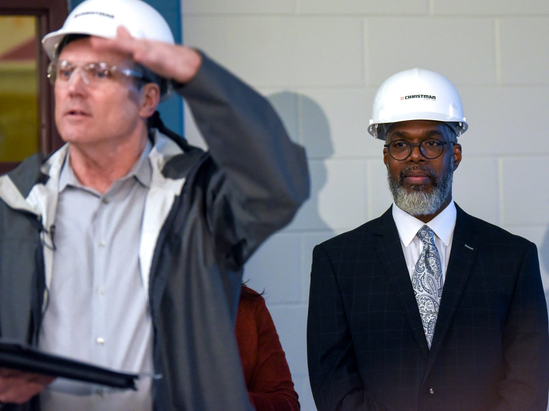 Eastern High School Marcelle Carruthers looks on during a tour of the construction of the new Eastern High School on Thursday, March 14, 2019, in Lansing. The project is being funded by the district's successful Pathway Promise millage, which was passed by voters in 2016. The building was formerly Pattengill Academy.