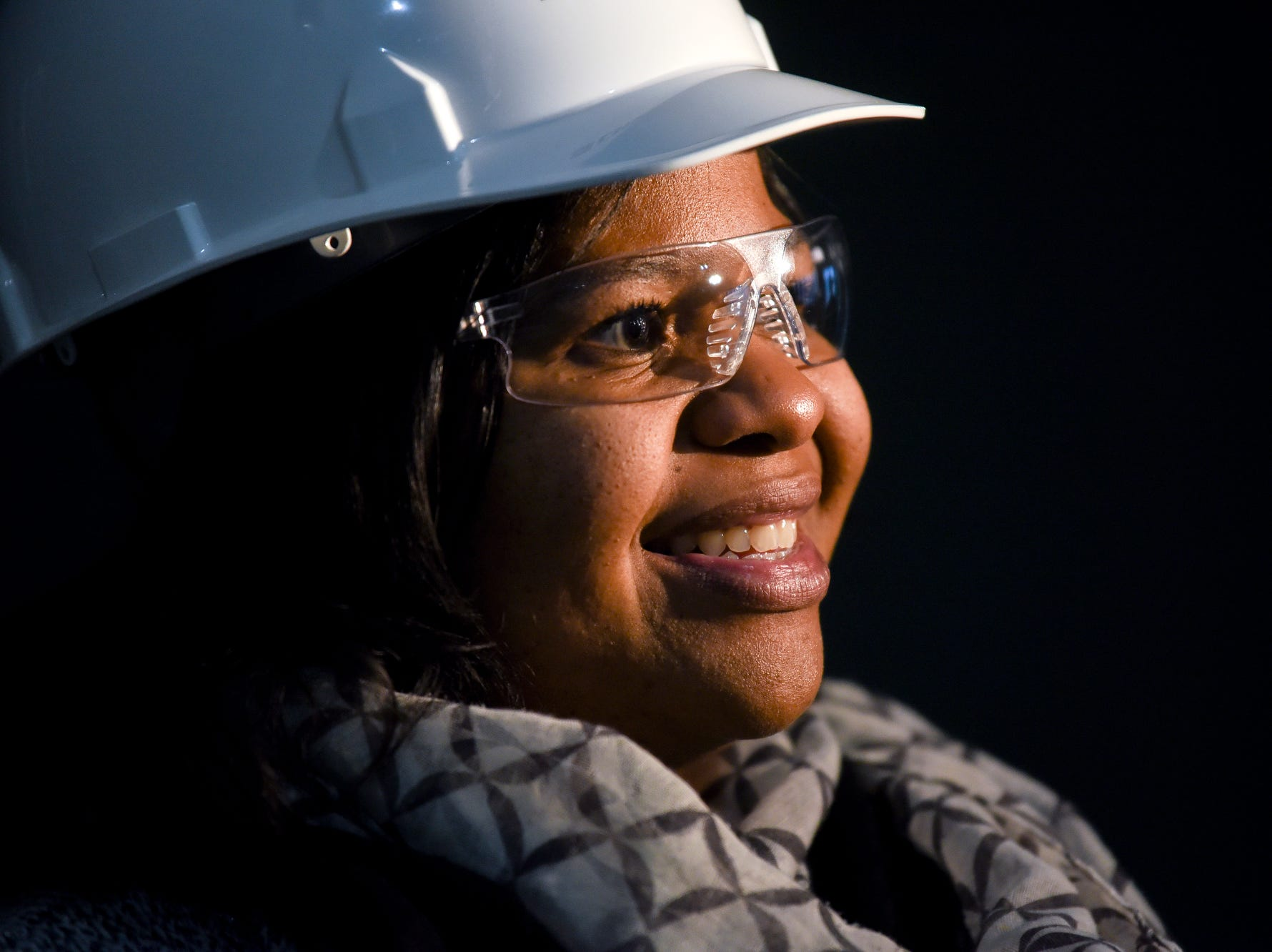 Lansing School District Board President Rachel Lewis smiles during a tour of the construction of the new Eastern High School on Thursday, March 14, 2019, in Lansing. The project is being funded by the district's successful Pathway Promise millage, which was passed by voters in 2016. The building was formerly Pattengill Academy.