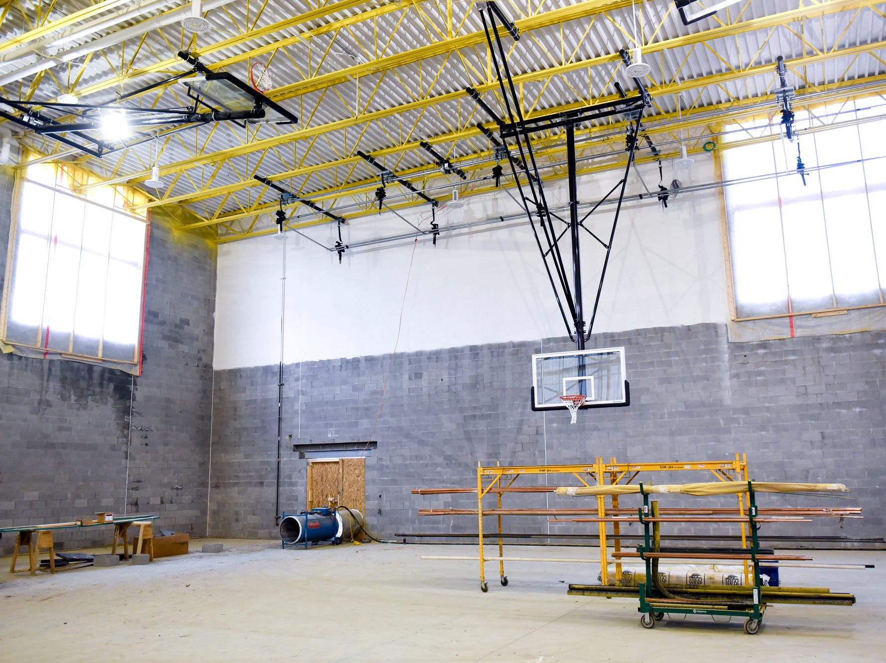 A view of the auxiliary gym during a tour of the construction of the new Eastern High School on Thursday, March 14, 2019, in Lansing. The project is being funded by the district's successful Pathway Promise millage, which was passed by voters in 2016. The building was formerly Pattengill Academy.