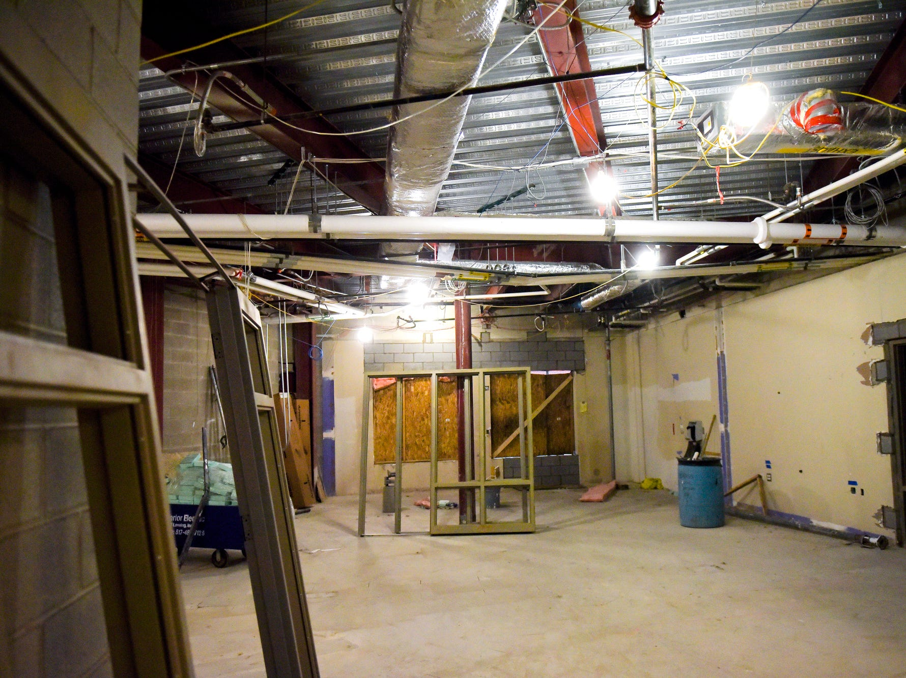 An area under construction is seen during a tour of the construction of the new Eastern High School on Thursday, March 14, 2019, in Lansing. The project is being funded by the district's successful Pathway Promise millage, which was passed by voters in 2016. The building was formerly Pattengill Academy.