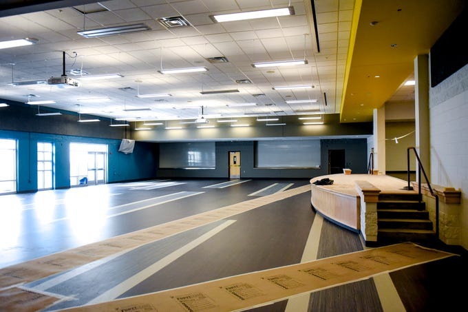 A view of the remodeled cafeteria during a tour of the construction of the new Eastern High School on Thursday, March 14, 2019, in Lansing. The project is being funded by the district's successful Pathway Promise millage, which was passed by voters in 2016. The building was formerly Pattengill Academy.