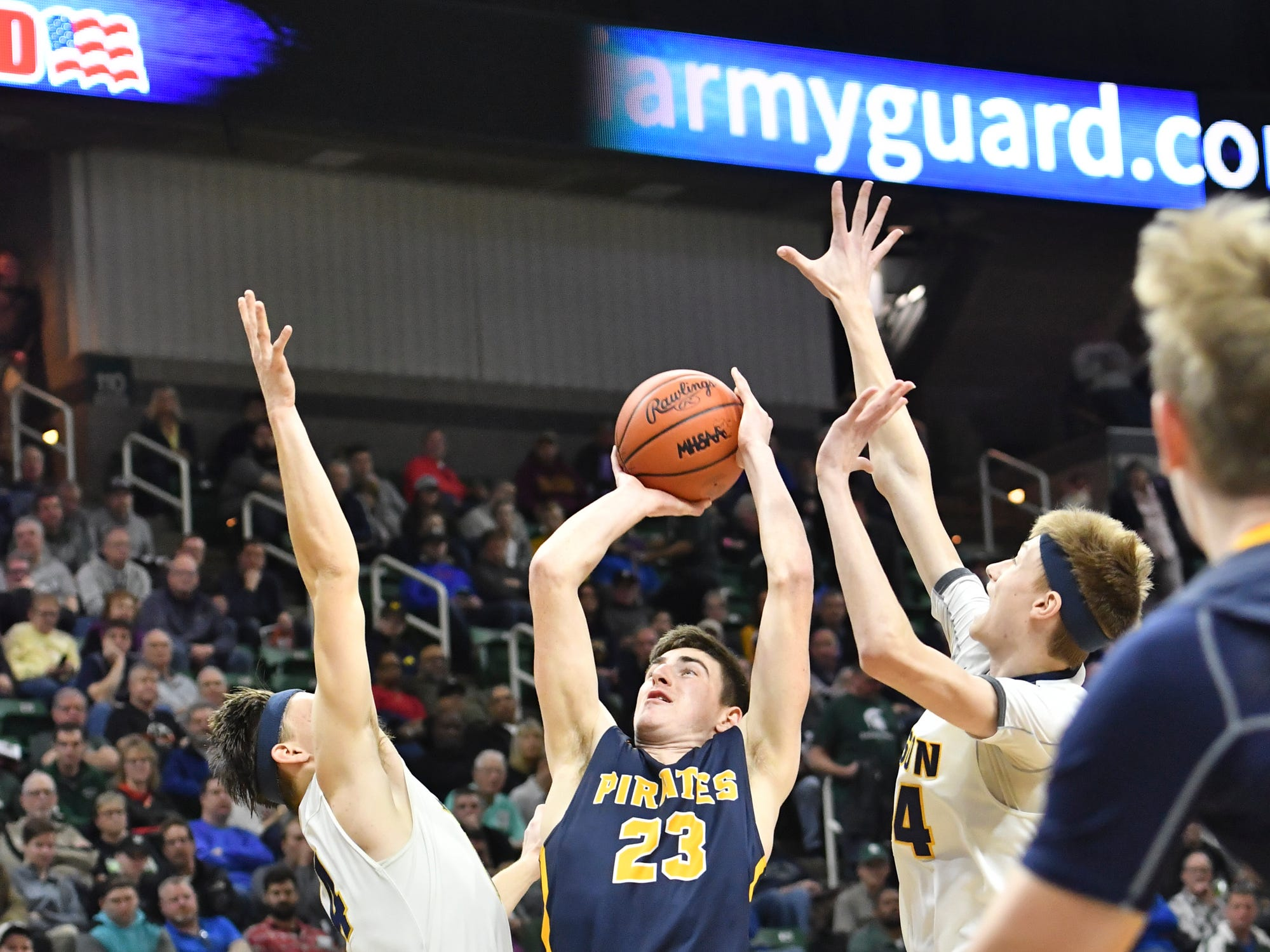 J.C. Steinman of P-W shoots from inside the paint against Erie-Mason Thursday, March 14, 2019, during the MHSAA Div. 3 state semifinal at the Breslin Center in East Lansing.