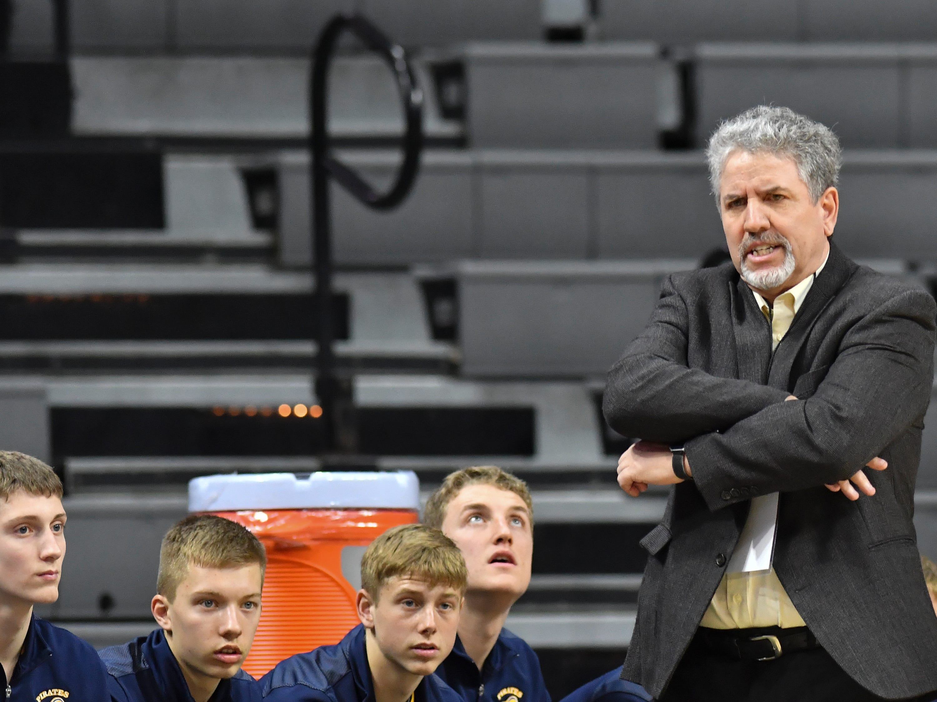 P-W coach Luke Pohl coaches his Pirates against Erie-Mason, Thursday, March 14, 2019, during the MHSAA Div. 3 state semifinal at the Breslin Center in East Lansing.   P-W earned a berth in the state final winning 60-45.