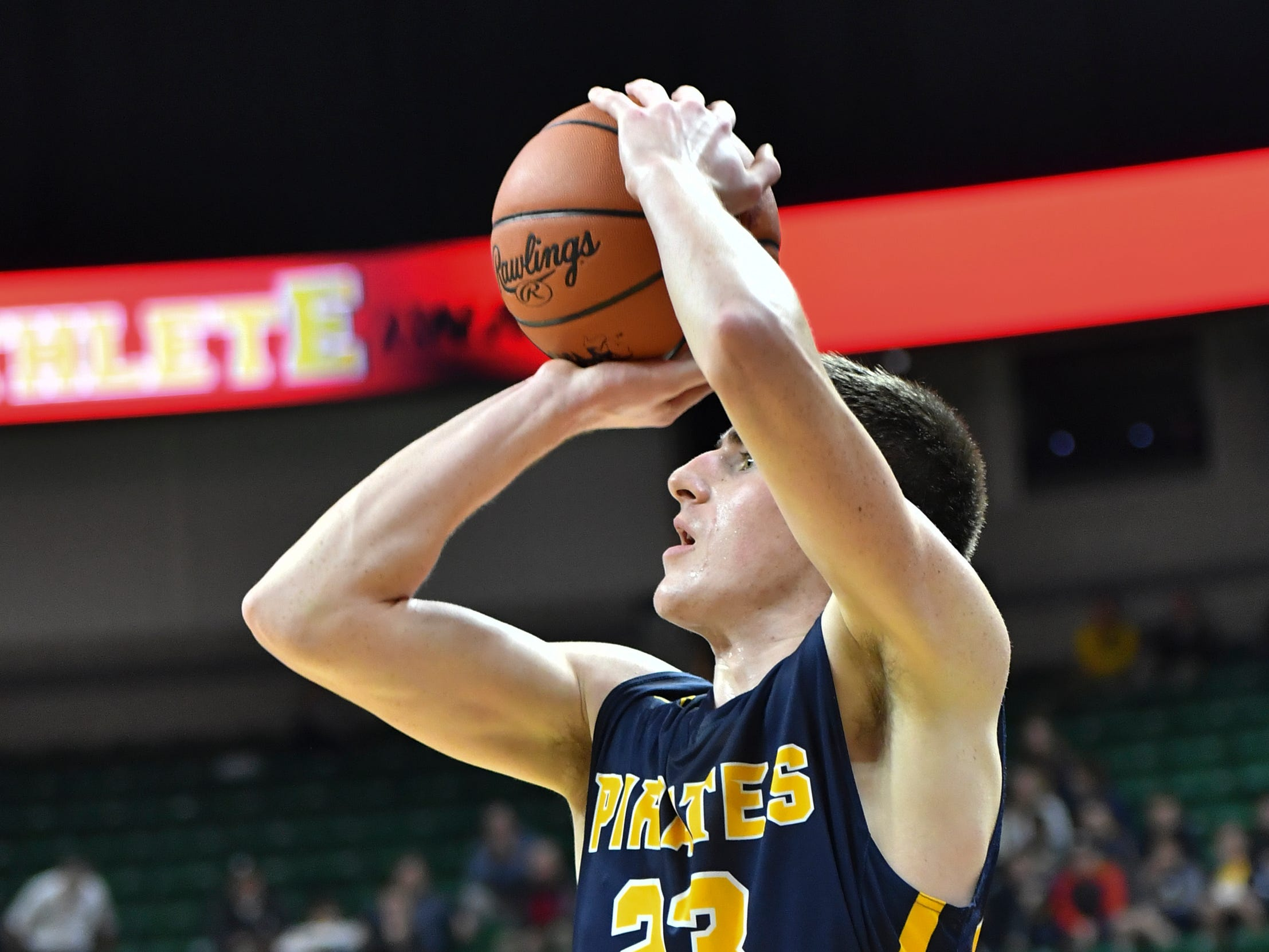 Aaron Bearss of PW connects from three-point land against Erie-Mason, Thursday, March 14, 2019, during the MHSAA Div. 3 state semifinal at the Breslin Center in East Lansing.   P-W earned its berth in the state final beating Erie-Mason 60-45.