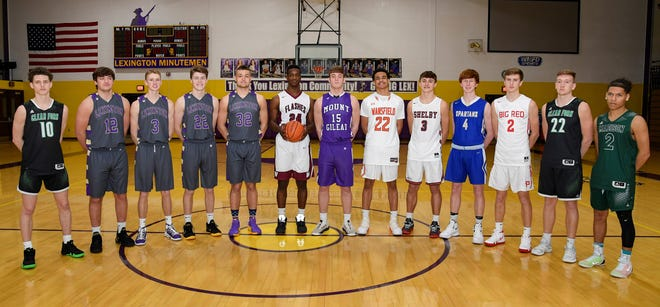 The North all-stars, left to right: Gannon Seifert, Clear Fork; Ben Vore, Lexington; Kyle Johnston, Lexington; Josh Aiello, Lexington; Cade Stover, Lexington; Davon Triplett, Willard; Mason Mollohan, Mount Gilead; Jakobe Reese, Mansfield Senior; Uriah Schwemley, Shelby; Luke Henrich, St. Peter's; Jacob Adams, Plymouth; Jared Schaefer, Clear Fork; Jashawn Au, Madison