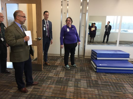 Officials from Akron Children's Hospital give a tour of the Mansfield Medical Center on Thursday.
