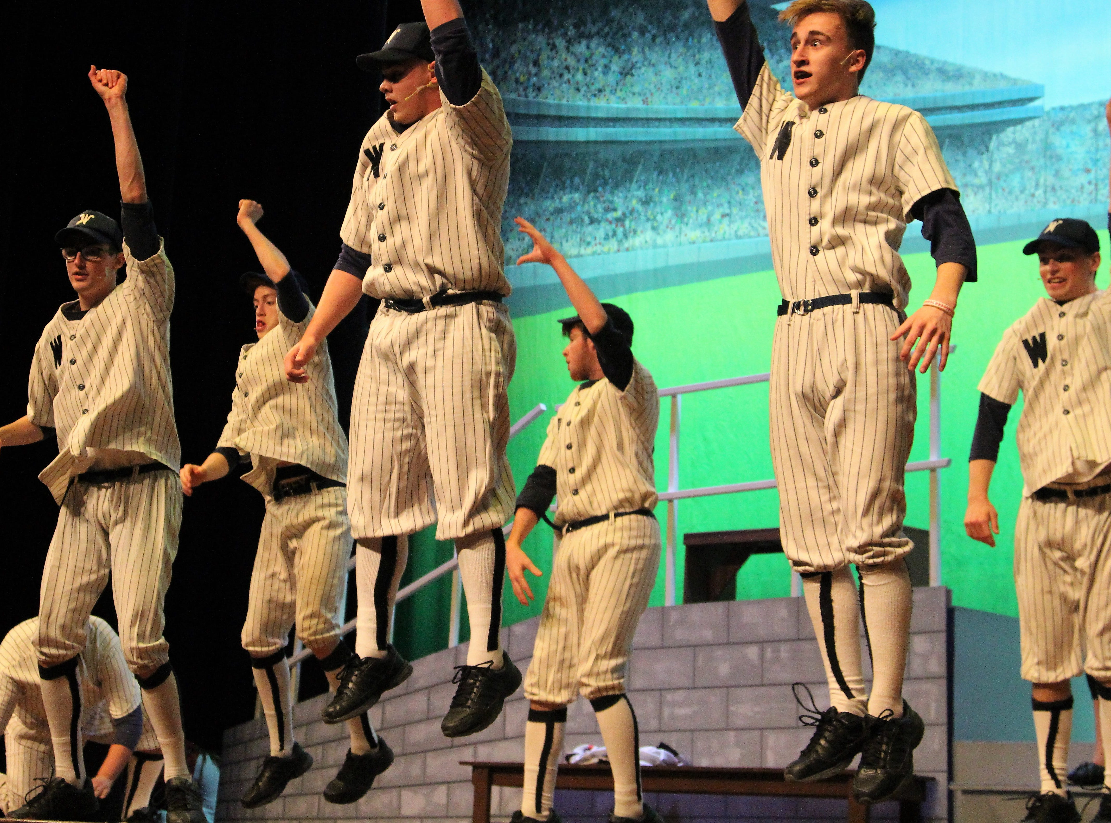 """Pleasant High School students take the stage as they perform the baseball themed musical """"Damn Yankees."""" Showtimes are this weekend at Marion's Palace Theatre. Tickets are $8 for students, $10 for senior citizens and $12 for general admission. Tickets can be purchased at the door."""