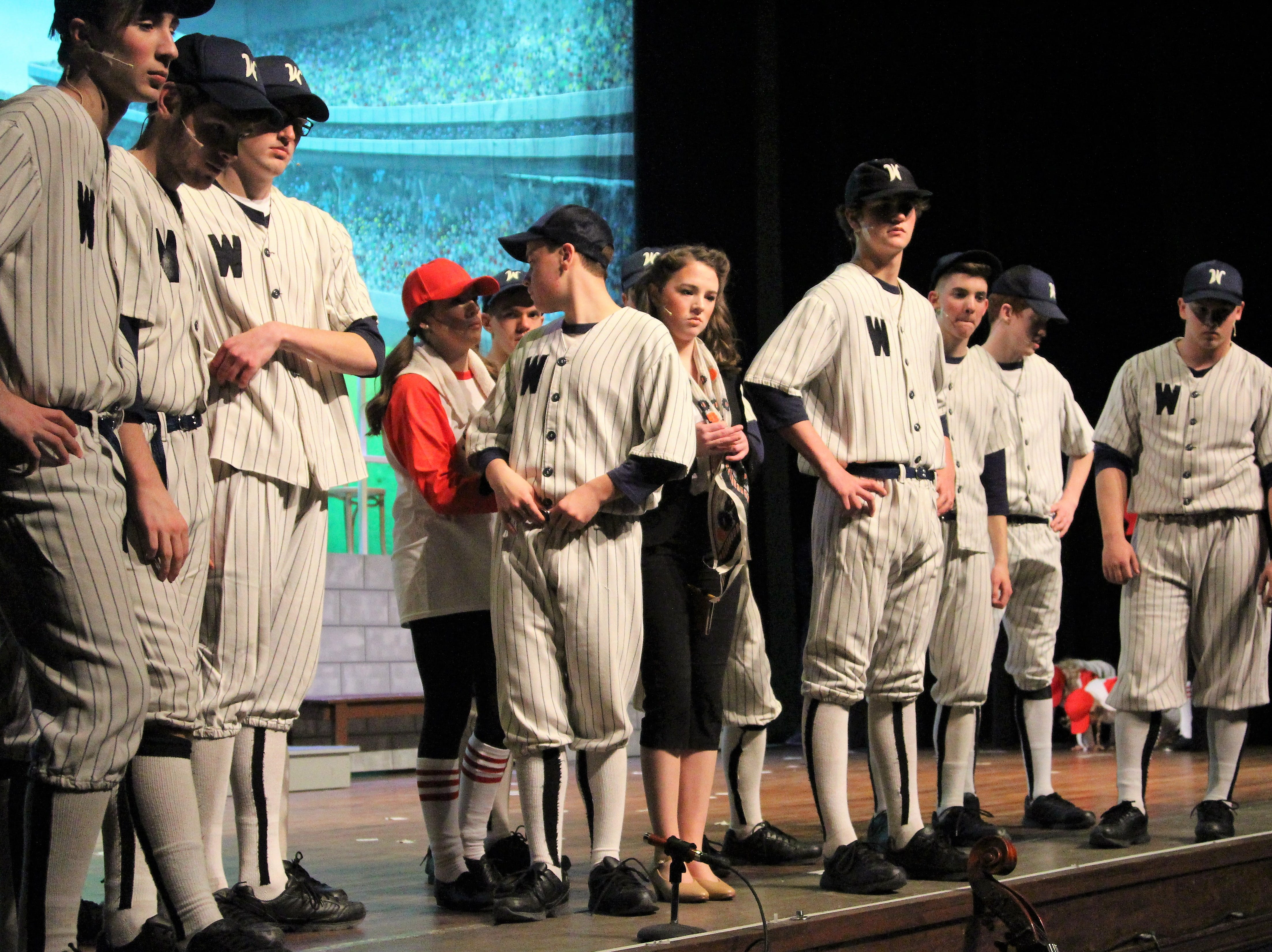 """Pleasant High School students take the stage as they perform the baseball themed musical """"Damn Yankees."""" Showtimes are 7 p.m. Friday and Saturday, March 15 and 16, and 3 p.m. Sunday, March 17."""