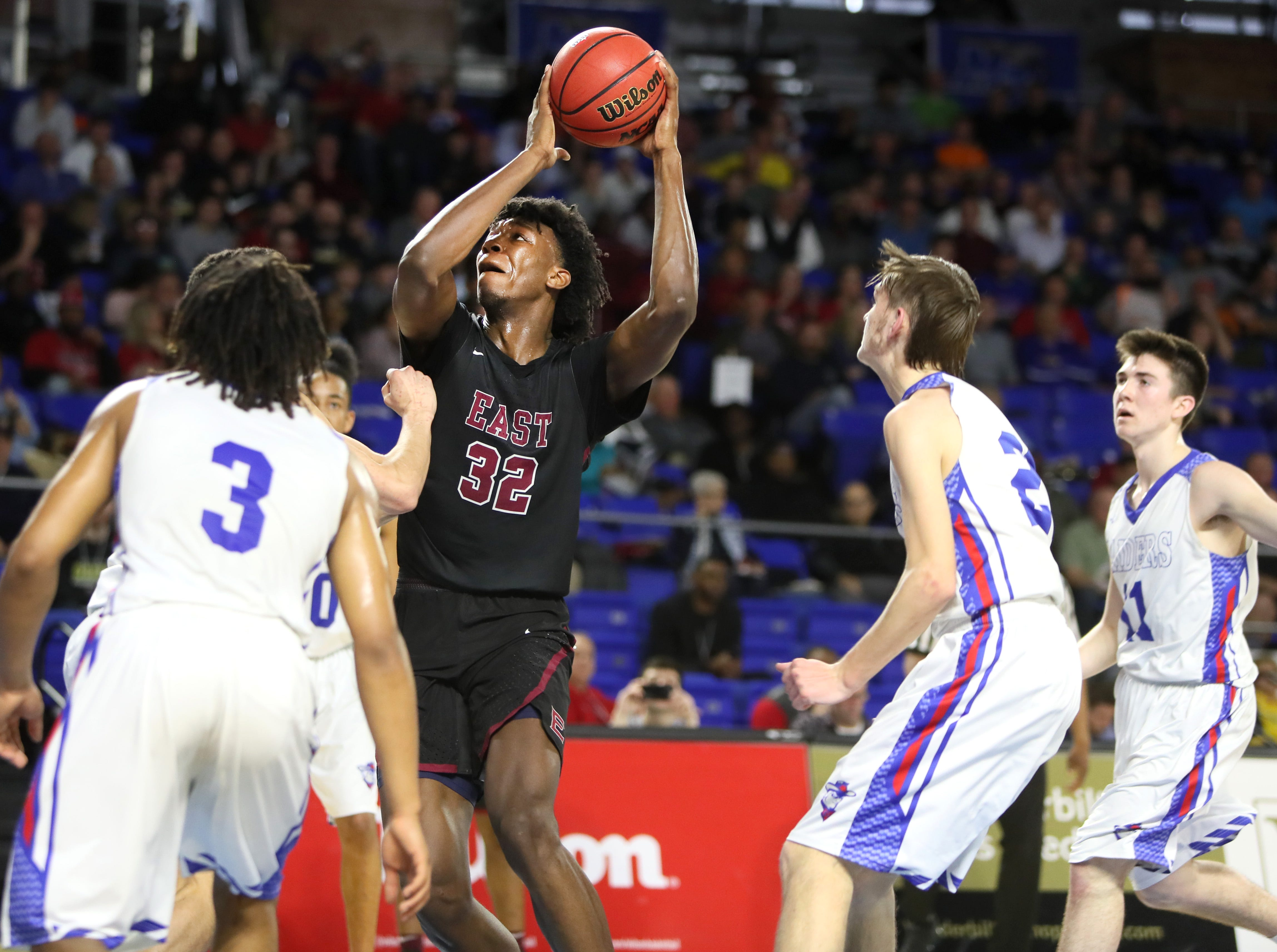 Memphis East's James Wiseman shoots the ball against Cleveland during the TSSAA Division I basketball state tournament at the Murphy Center in Murfreesboro, Tenn. on Thursday, March 14, 2019.