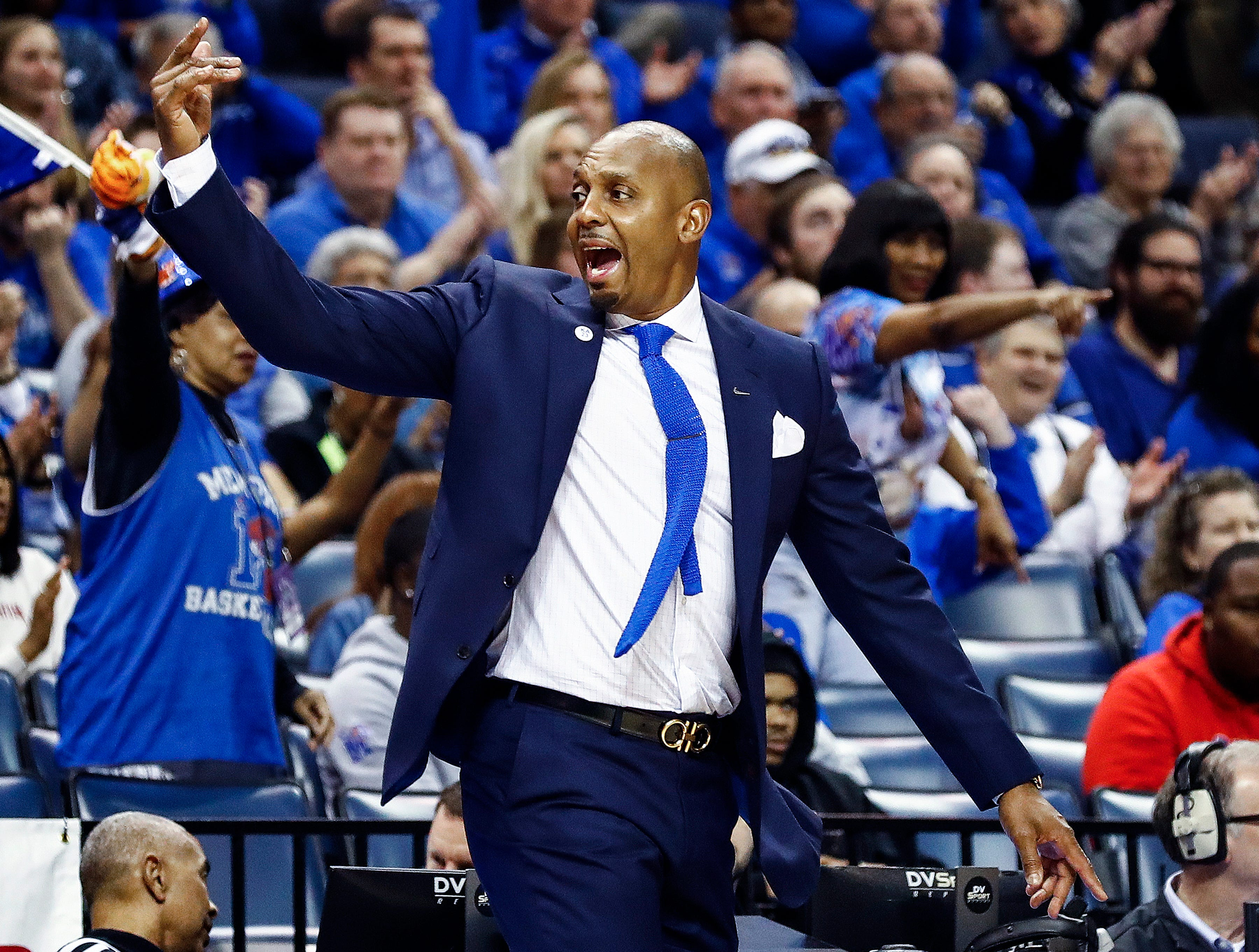 Memphis head coach Penny Hardaway during action against Tulane in their first round AAC Tournament game at the  FedExForum, Thursday, March 14, 2019.