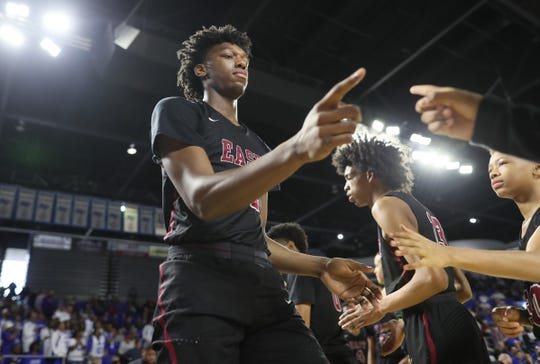 Memphis East's James Wiseman is introduced before their game against Cleveland during the TSSAA Division I basketball state tournament at the Murphy Center in Murfreesboro, Tenn. on Thursday, March 14, 2019.
